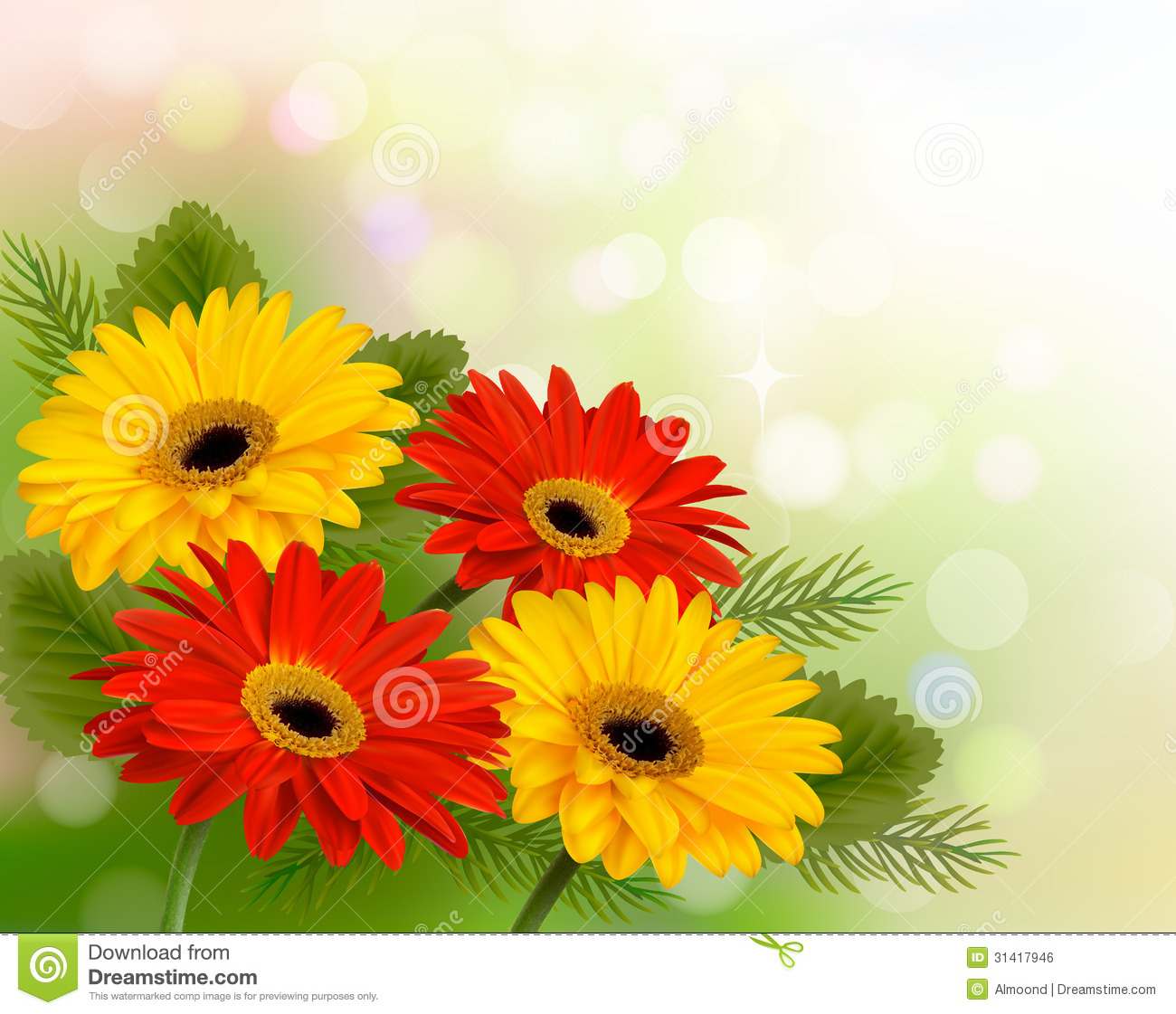 Nature Background With Colorful Beautiful Flowers Stock Vector