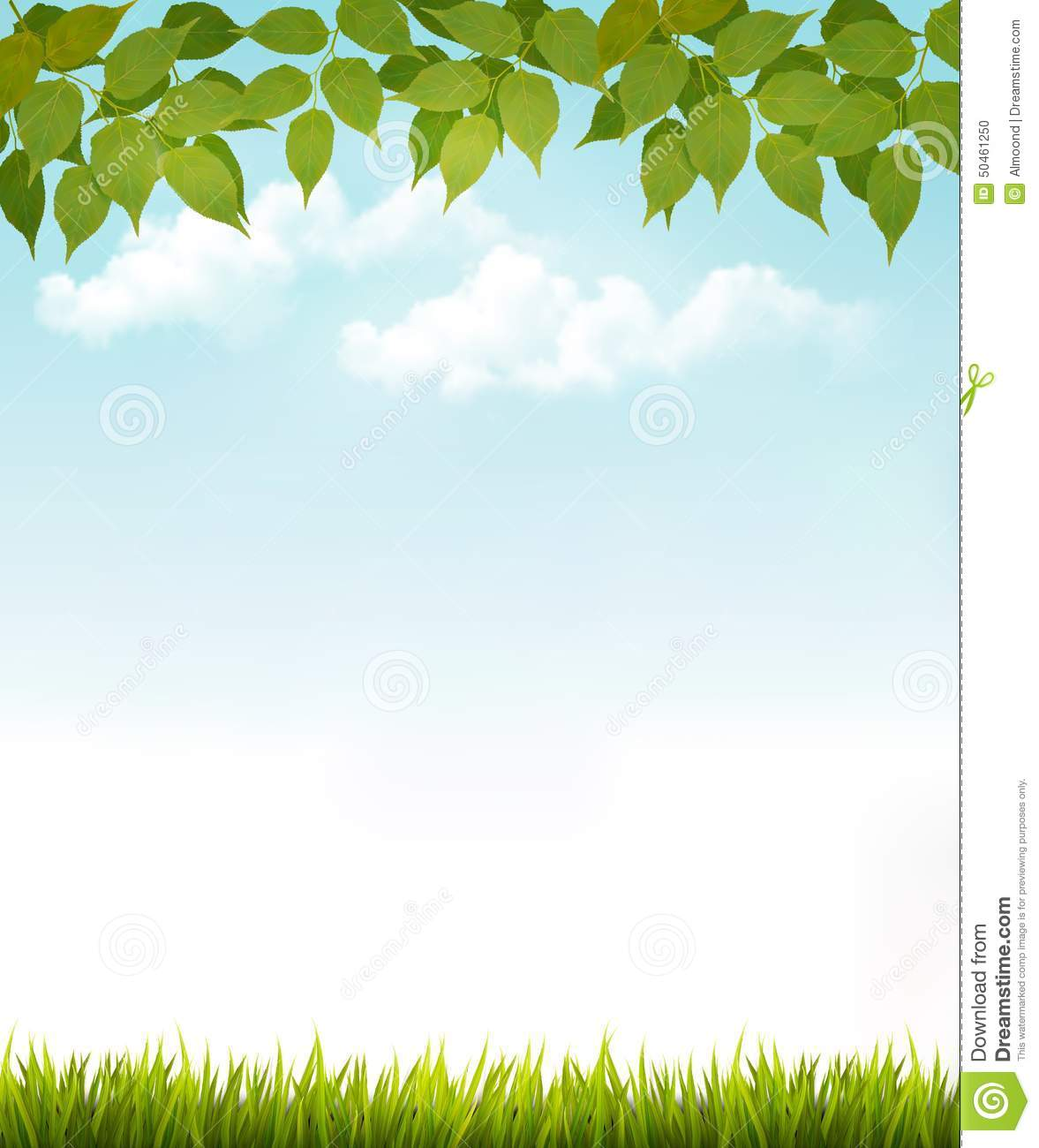 Nature Background With Leaves And Grass. Stock Photo ...