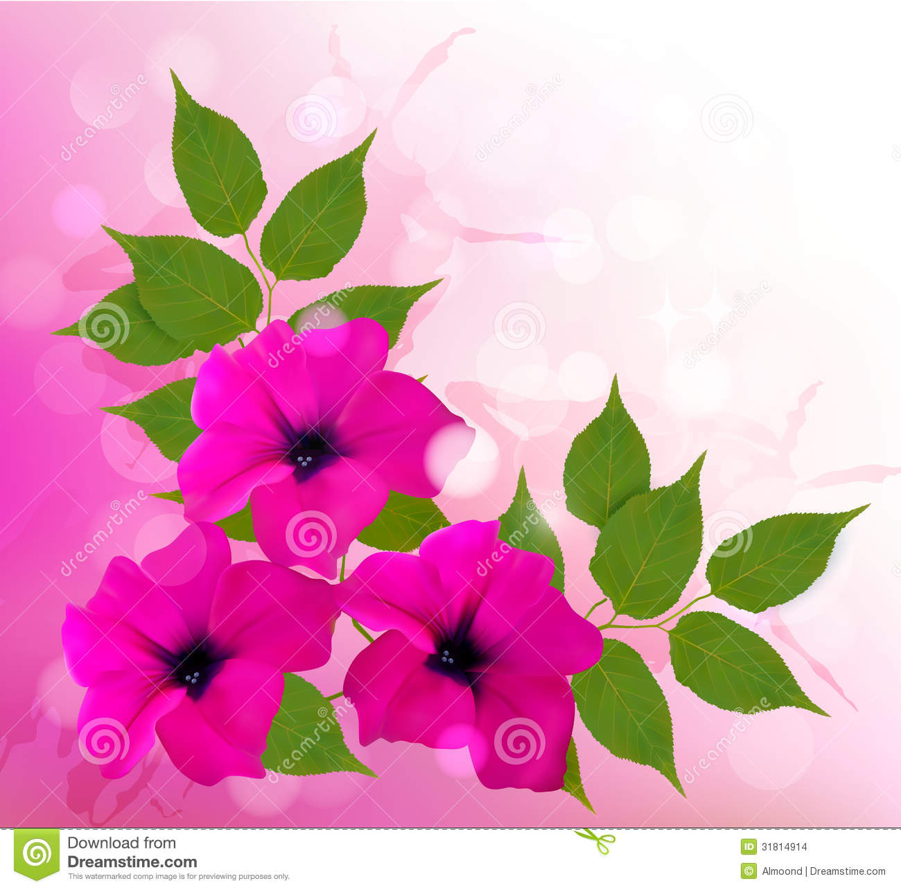 Nature Background With Pink Beautiful Flowers. Vec Stock