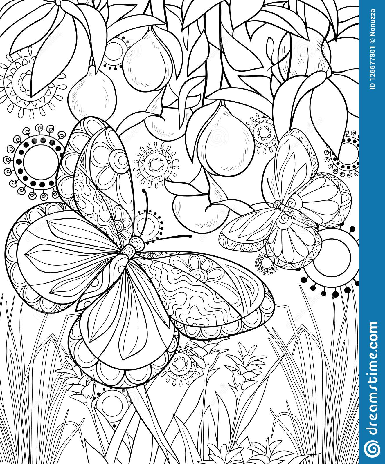 Adult Coloring Book,page A Cute Nature Background For ...