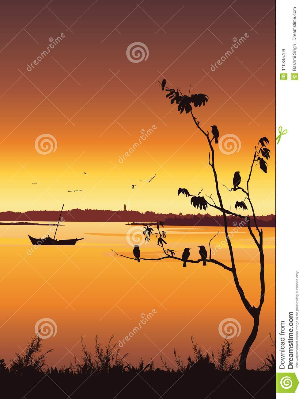 nature background with river and tree. birds sitting on tree