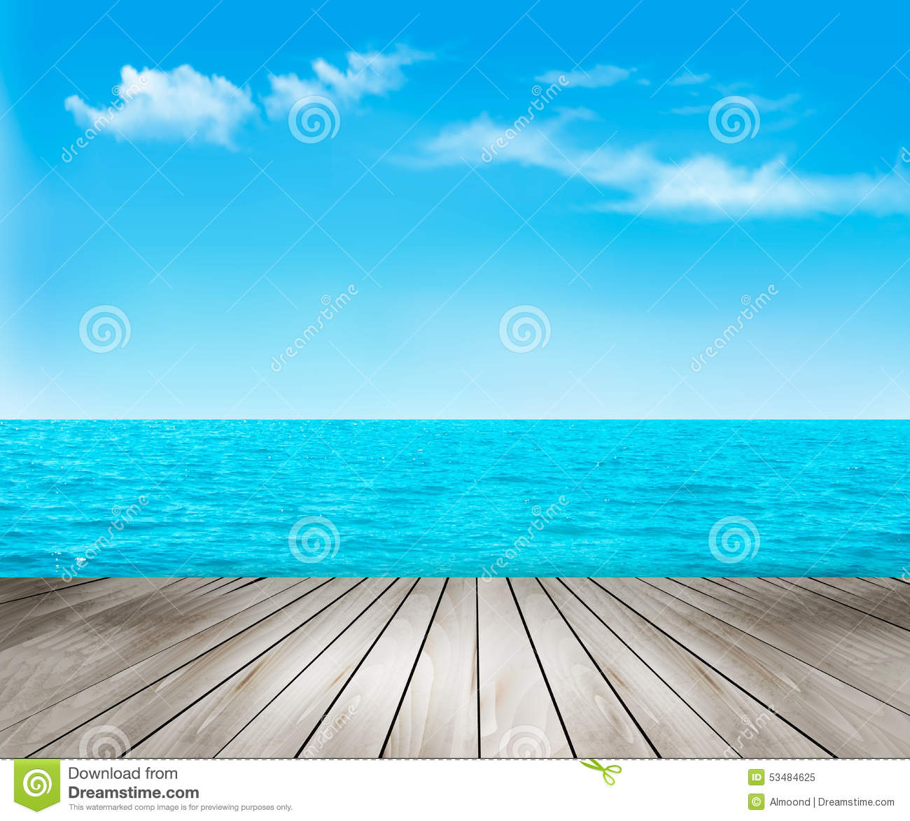 Wood Floor On Beach Sea And Blue Sky For Background Stock: Nature Background With A Wooden Deck, The Sea And The Sky