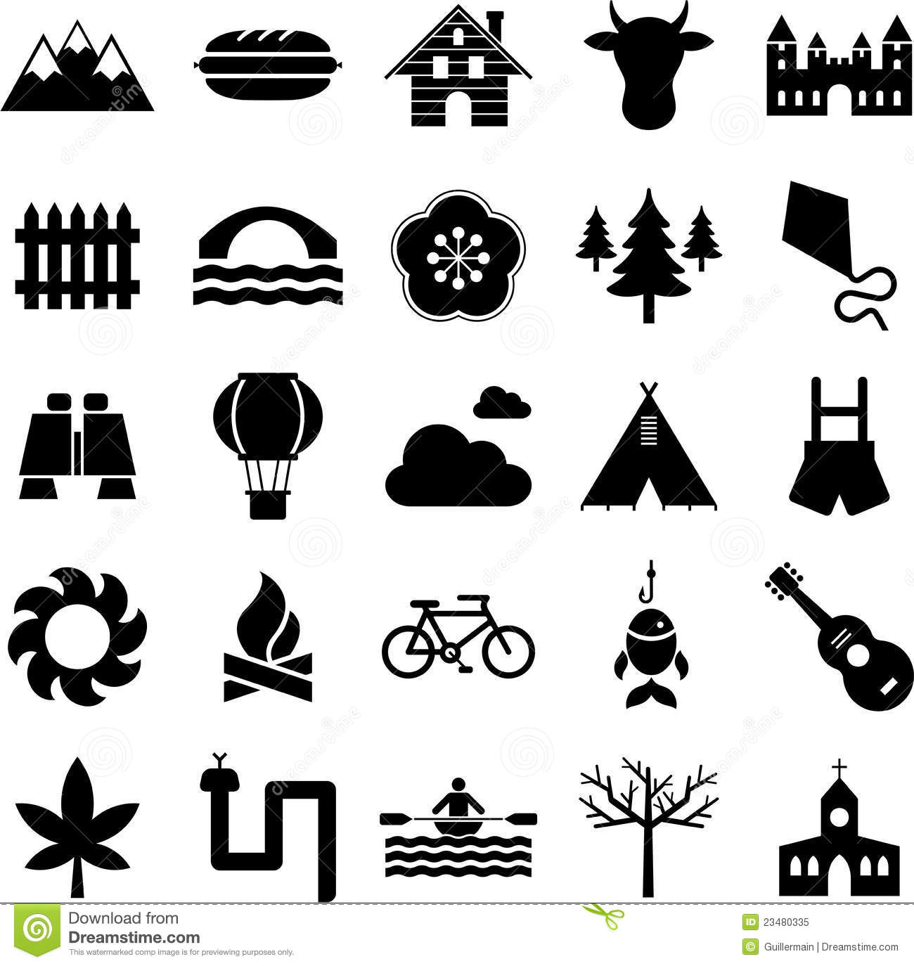 nature camping and outdoor activities icons royalty free