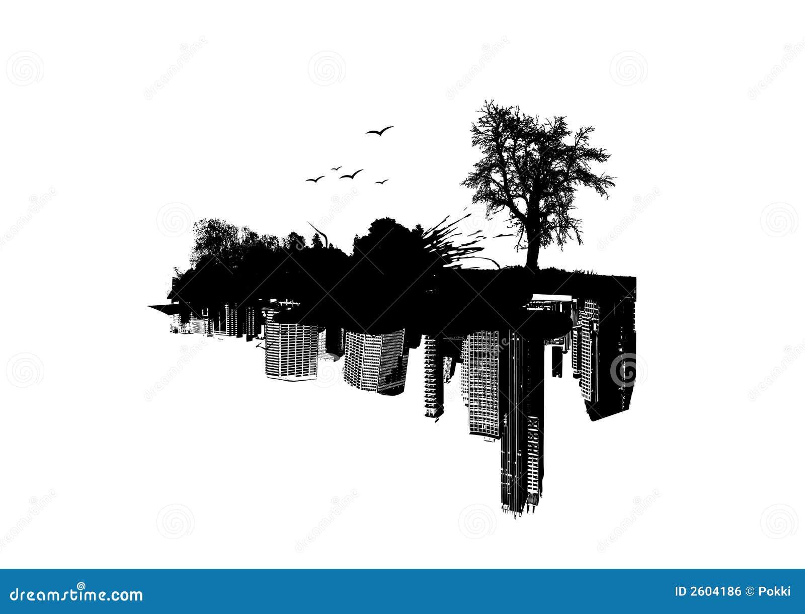 Nature contre la ville illustration de vecteur image du for La ville nature