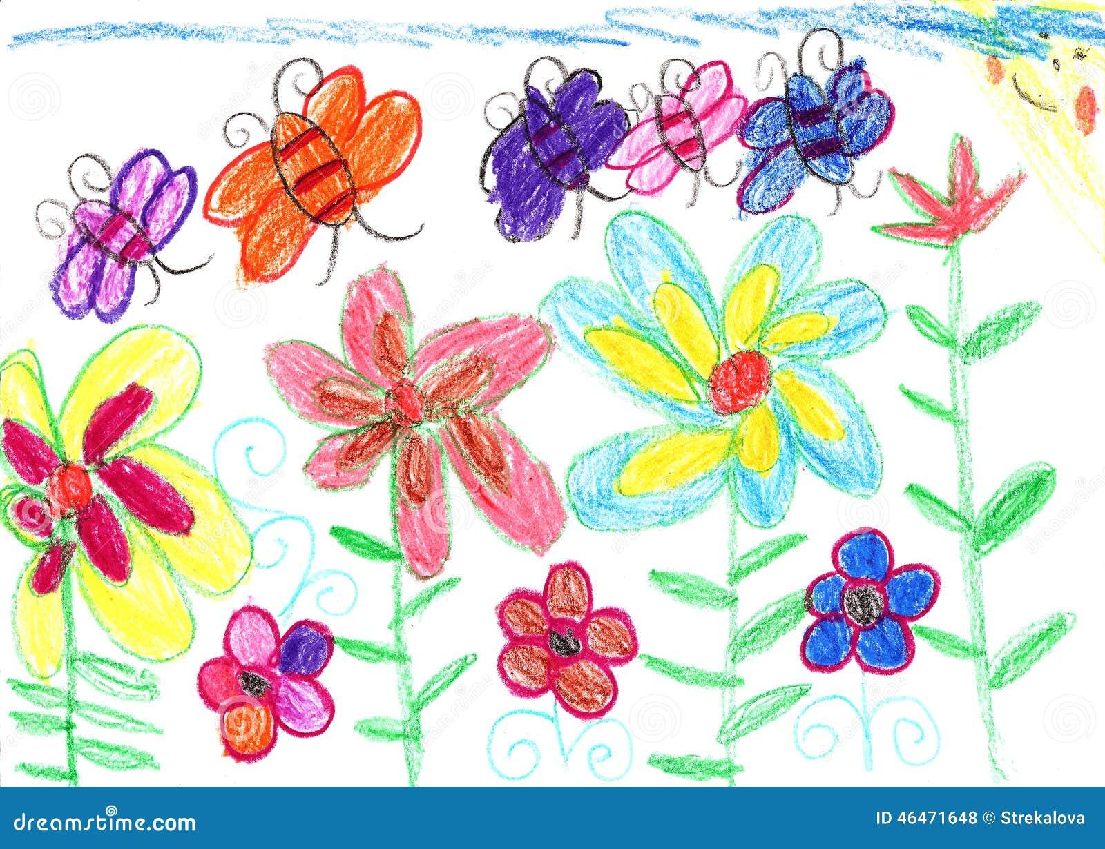 Nature d 39 abeilles et de fleurs du dessin de l 39 enfant - Image dessin enfant ...