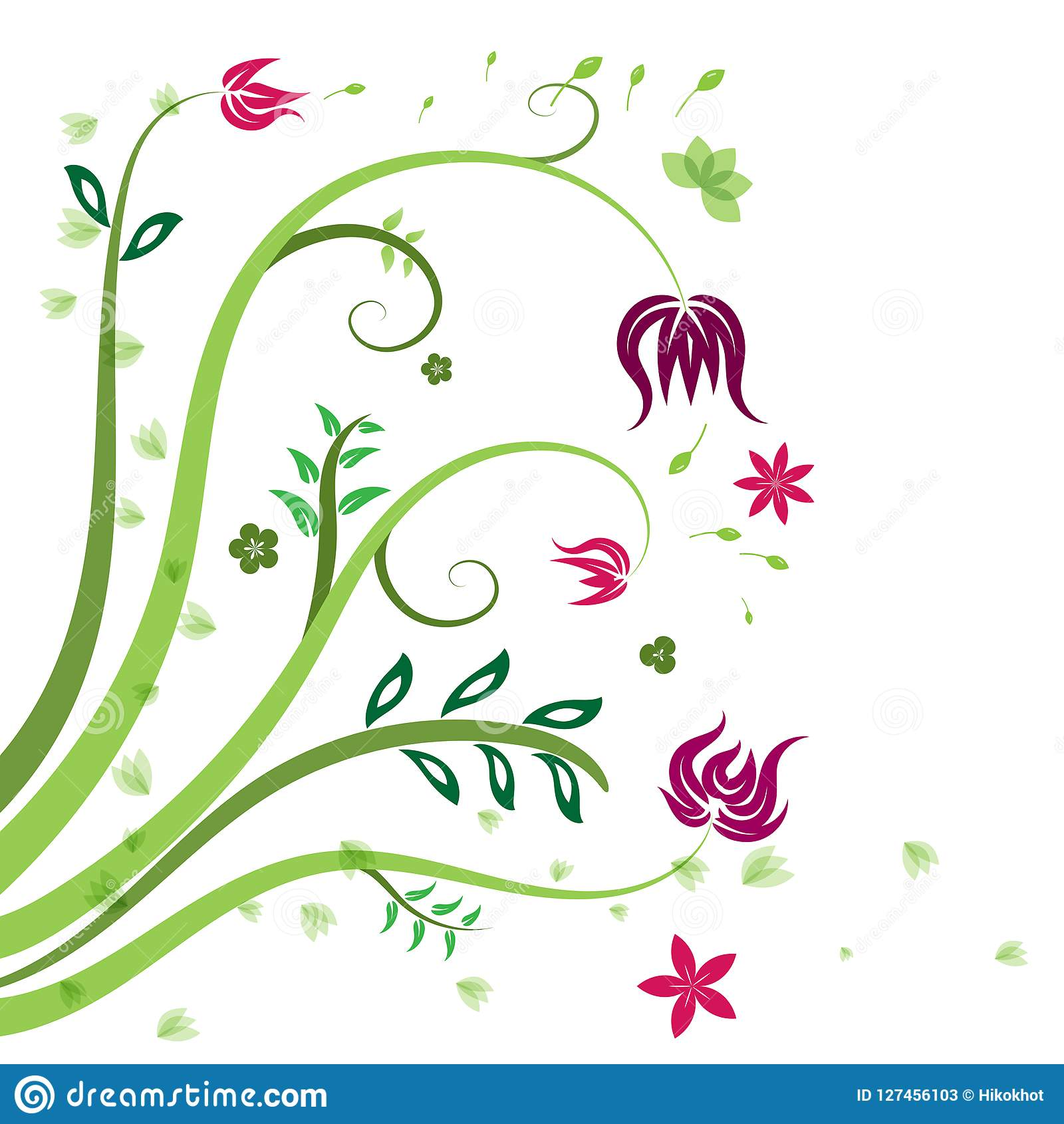 Pattern green red and purple floral and leaf vector background