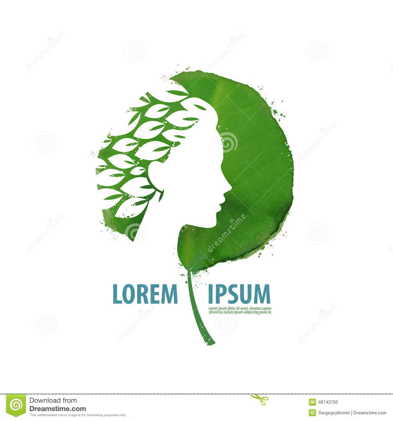 nature and girl logo icon sign emblem stock vector
