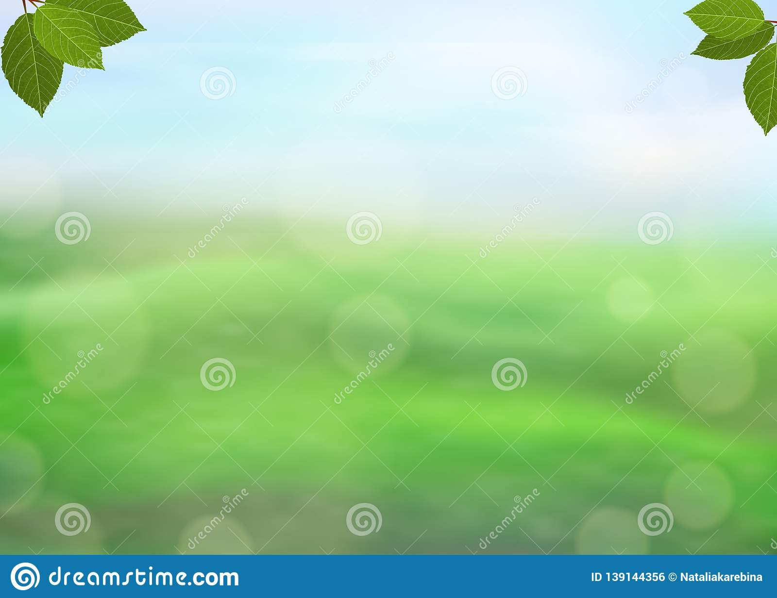 Nature green background with fresh leaves on a blurred background of grass and sky and bokeh effect. View with copy space add text