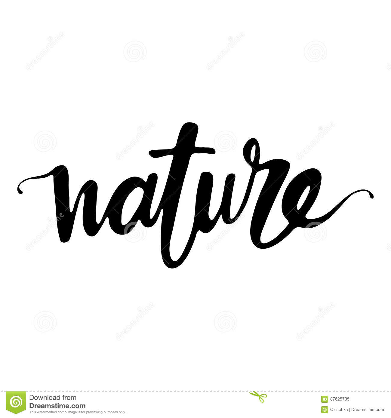 Nature Hand Written Word Stock Vector Illustration Of