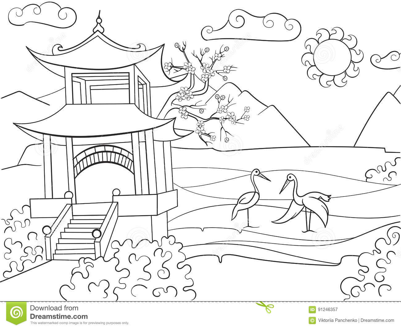 Nature Of Japan Coloring Book For Children Cartoon Vector ...