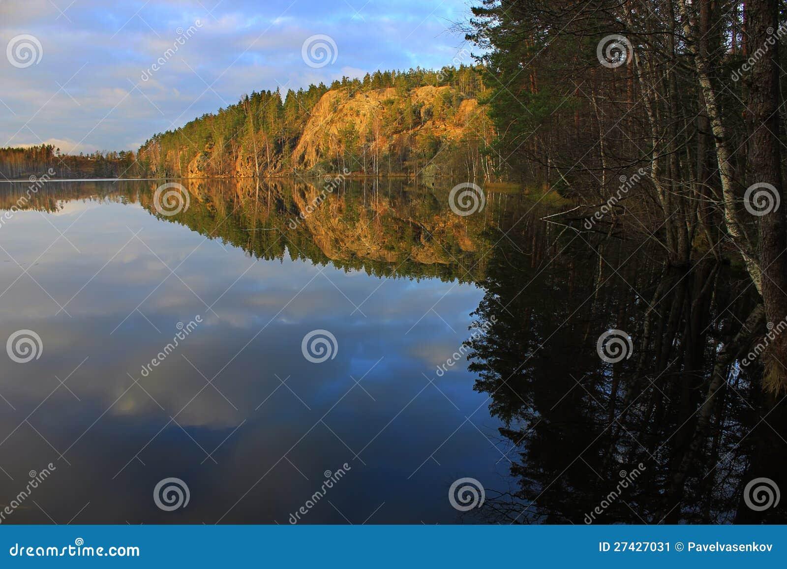 Nature of karelia russian nature hawk lake rocks above the water