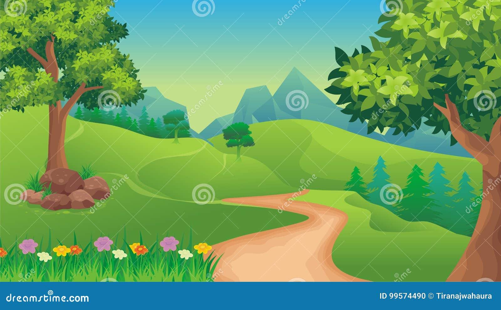 Nature landscape, cartoon game background