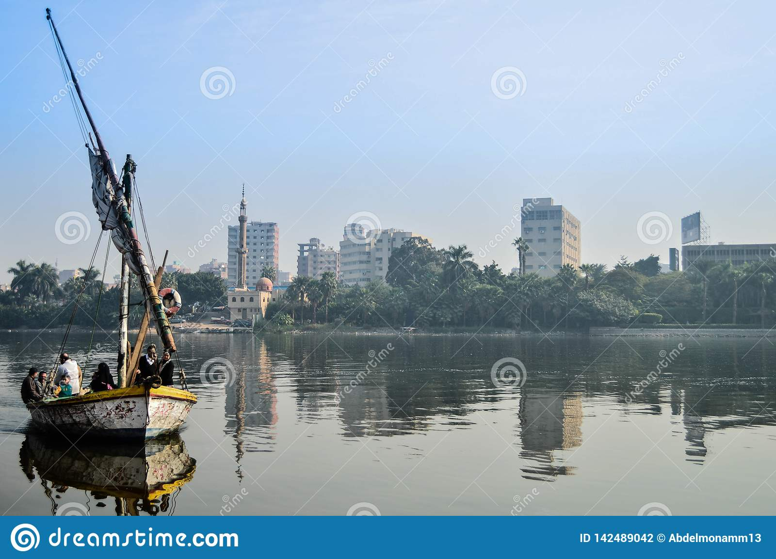A ship in the Nile by people