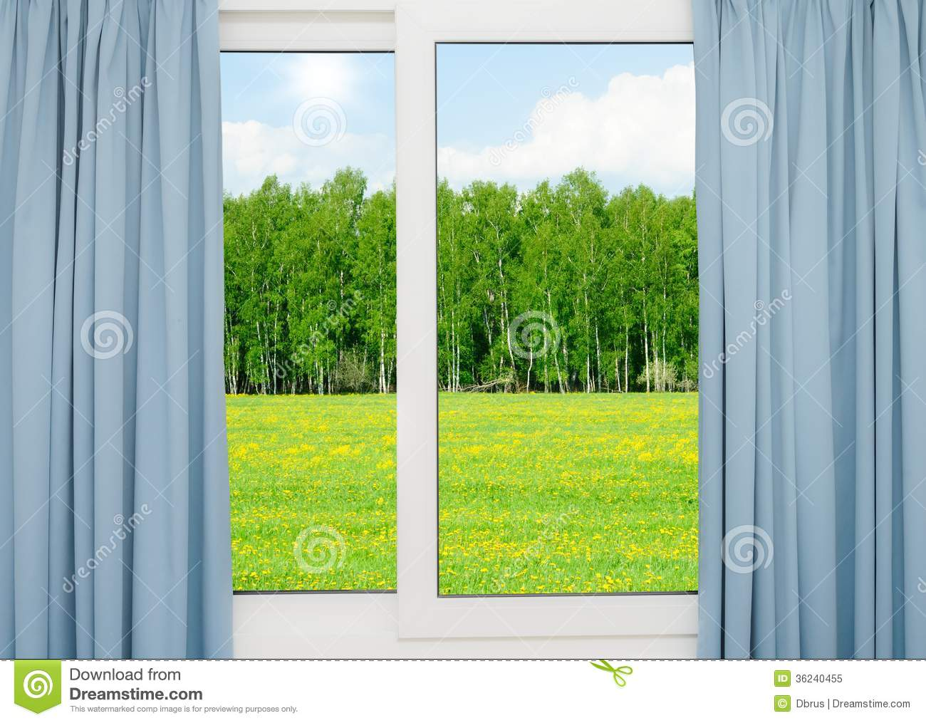 nature landscape with a view through a window with