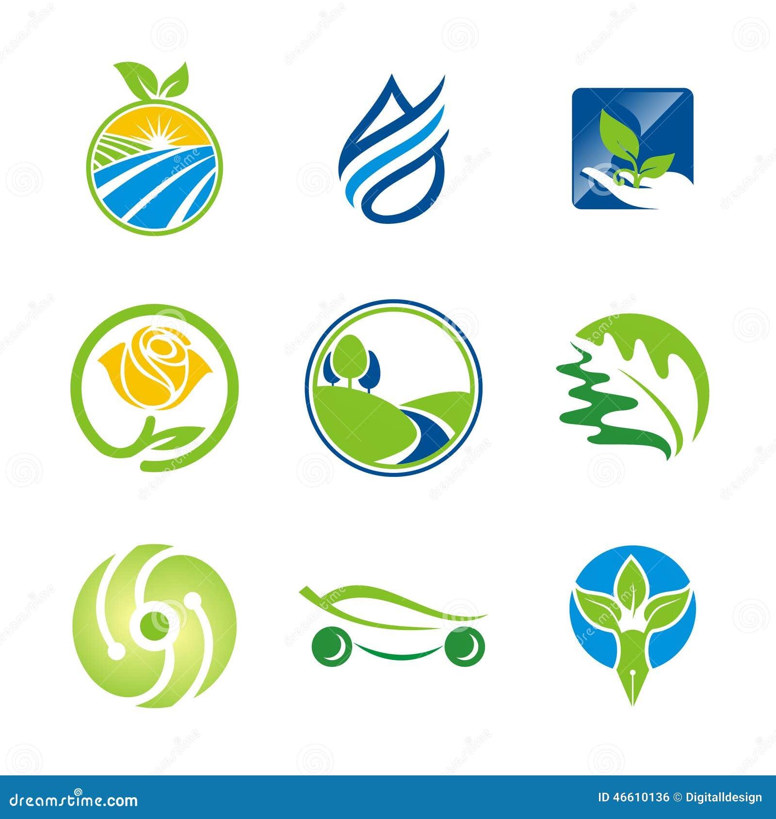 nature leaf environment bio ecology logos stock
