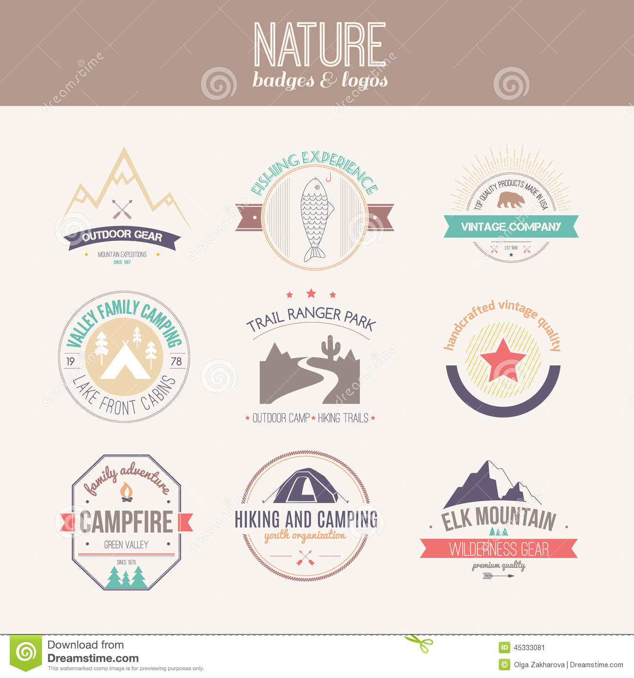 outdoor activity logo collection - mountain gear, hiking, summer camp ...
