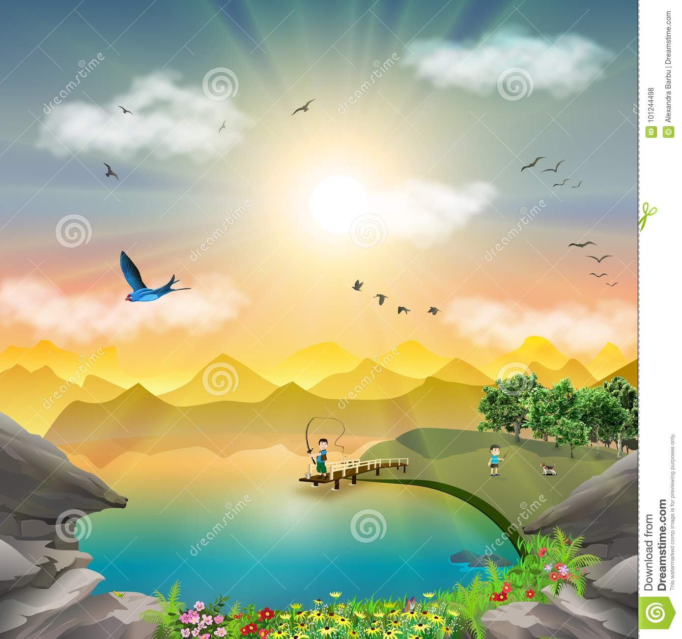 Download Nature Mountain Landscape At Sunset Lake Fishing Trip Stock Vector - Illustration of burst, cute: 101244498