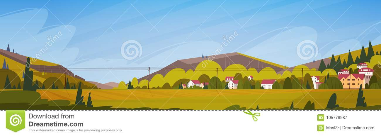 Nature Mountains Summer Landscape With Small Village Horizontal Banner