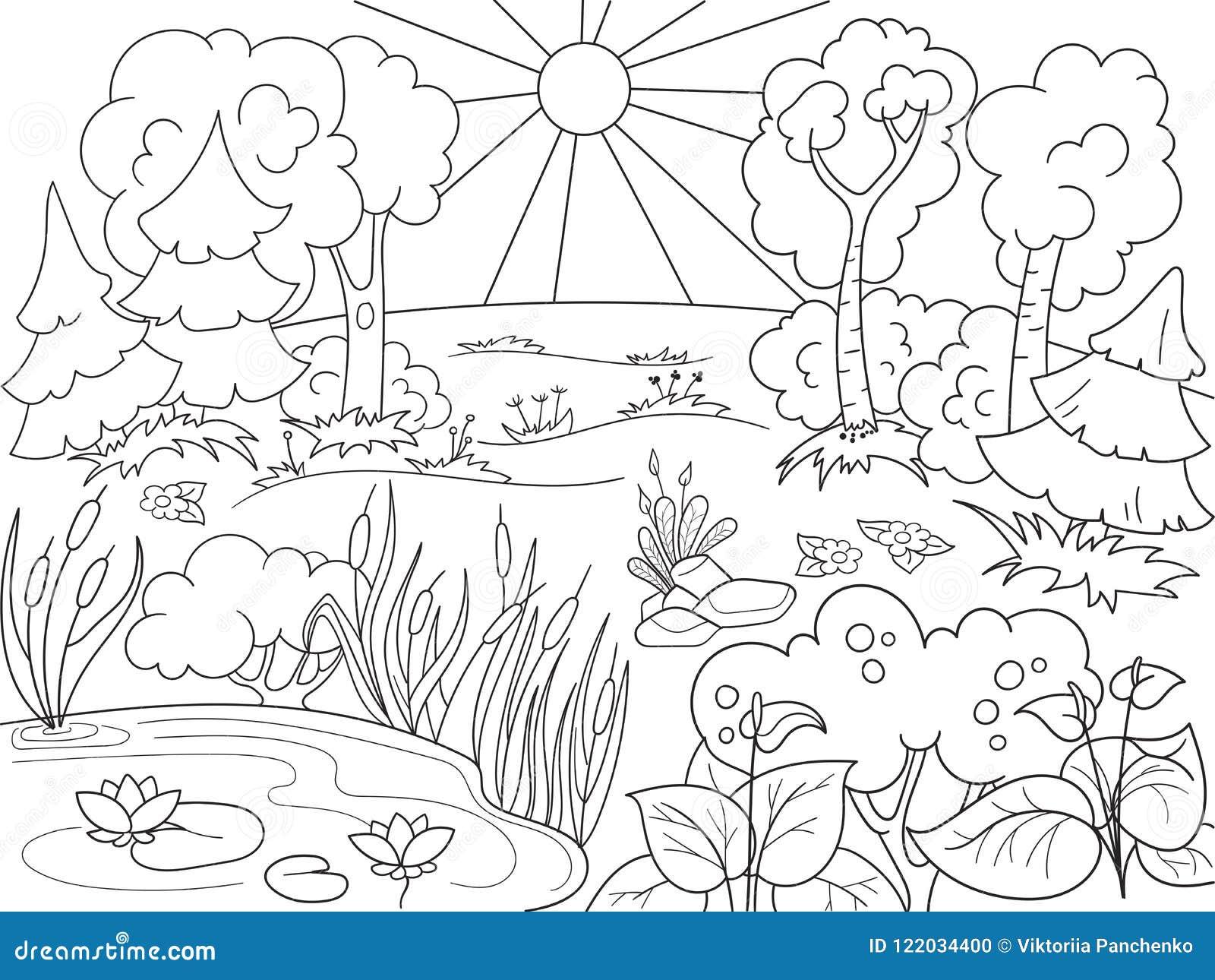 Coloriage Garcon Nature.Nature Noire Et Blanche De Livre De Coloriage De Bande Dessinee