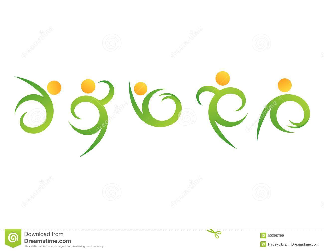 Nature People Wellness Logo Fitness Natural Symbolhuman Body Health Icon Set Design Vector