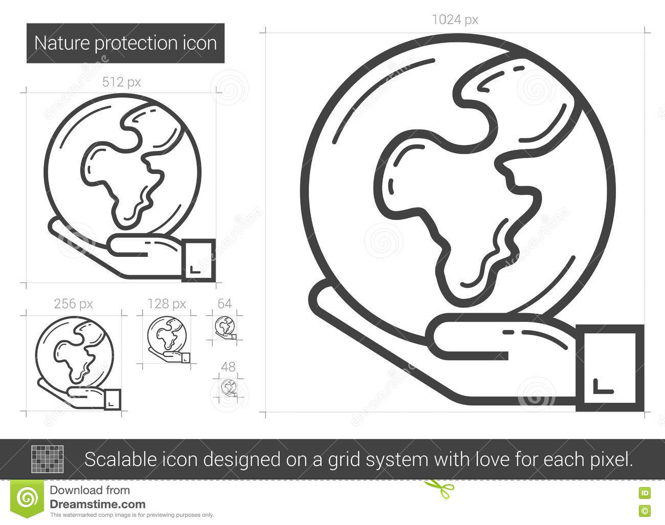 Nature Protection Line Icon Stock Vector Illustration Of