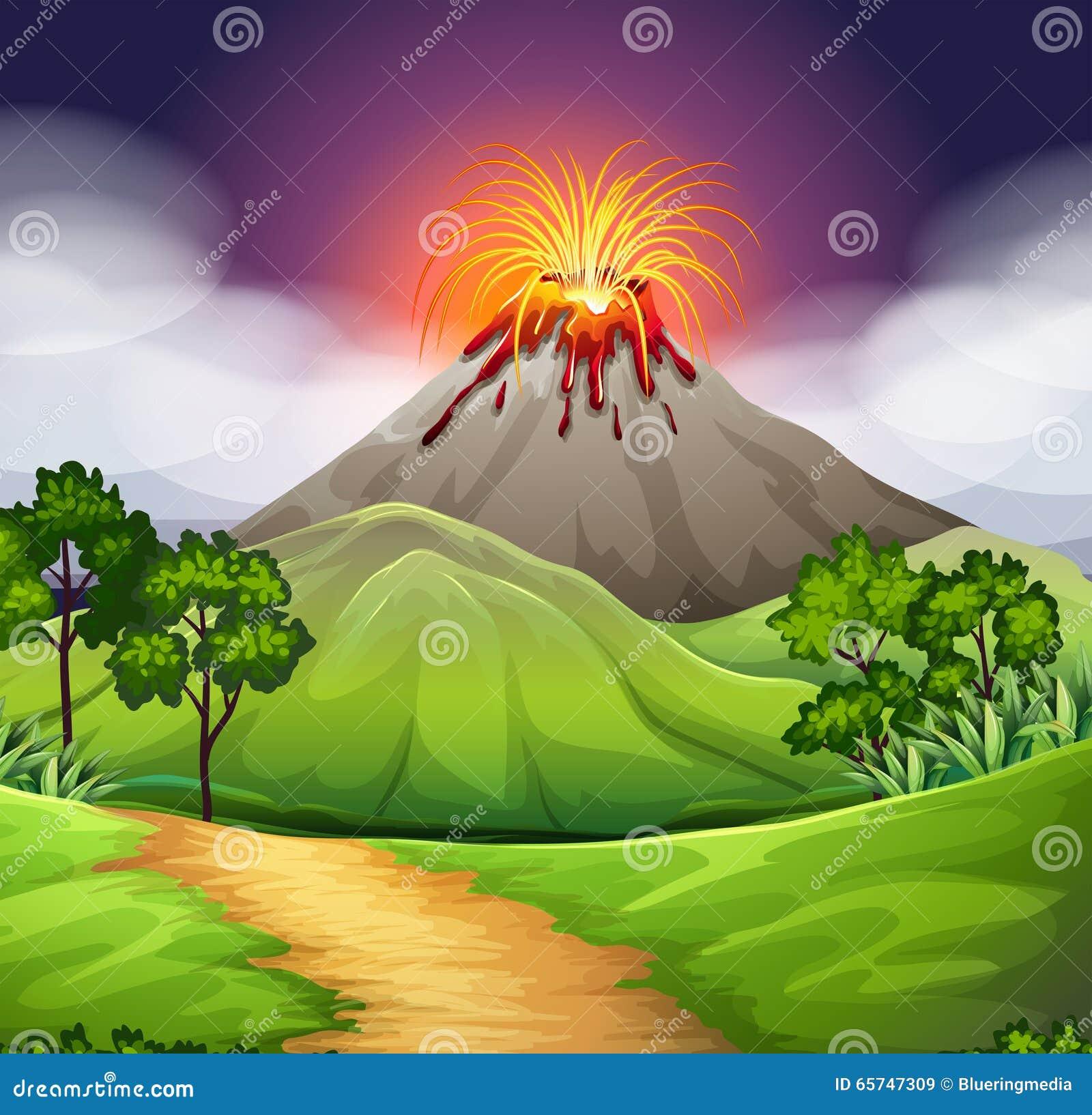 Nature Scene Of Volcan...