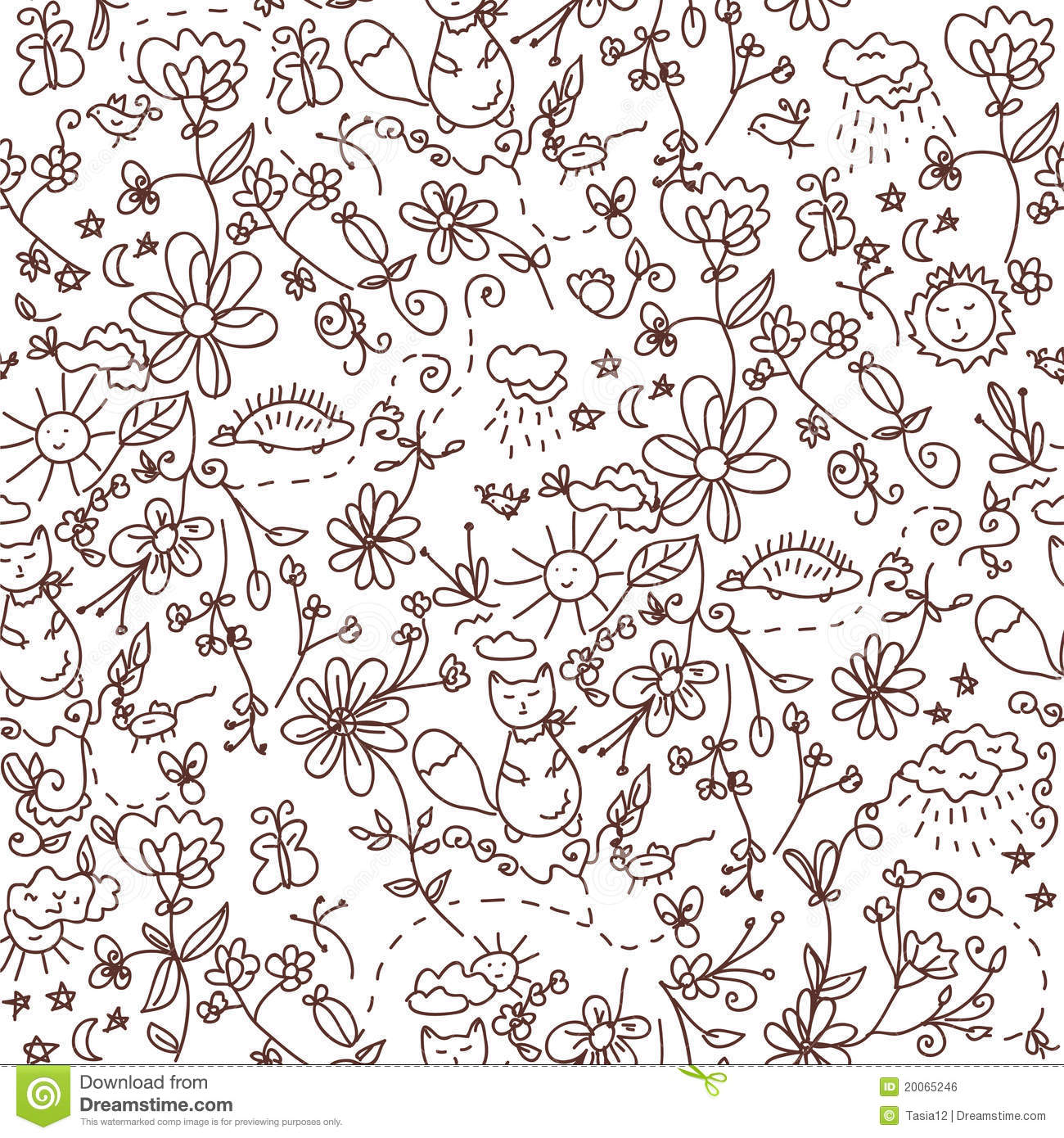 nature seamless doodle royalty free stock image image