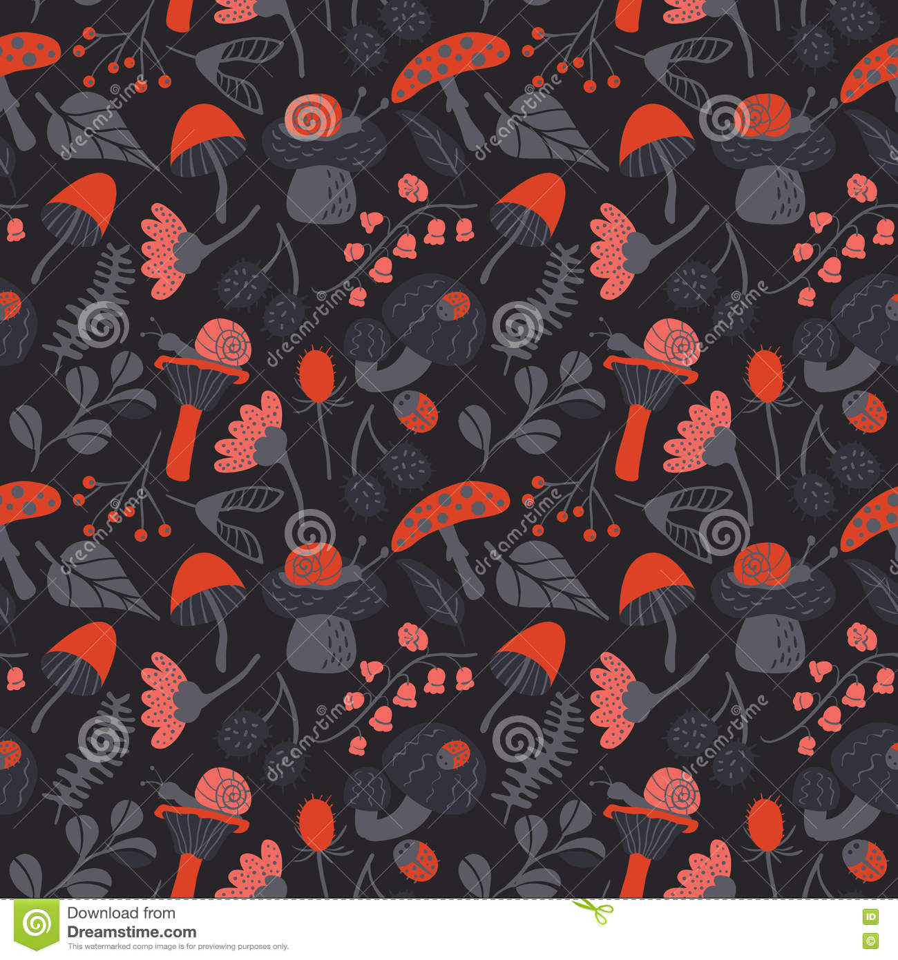 Nature Seamless Pattern With Mushroom, Ladybird, Snail ...
