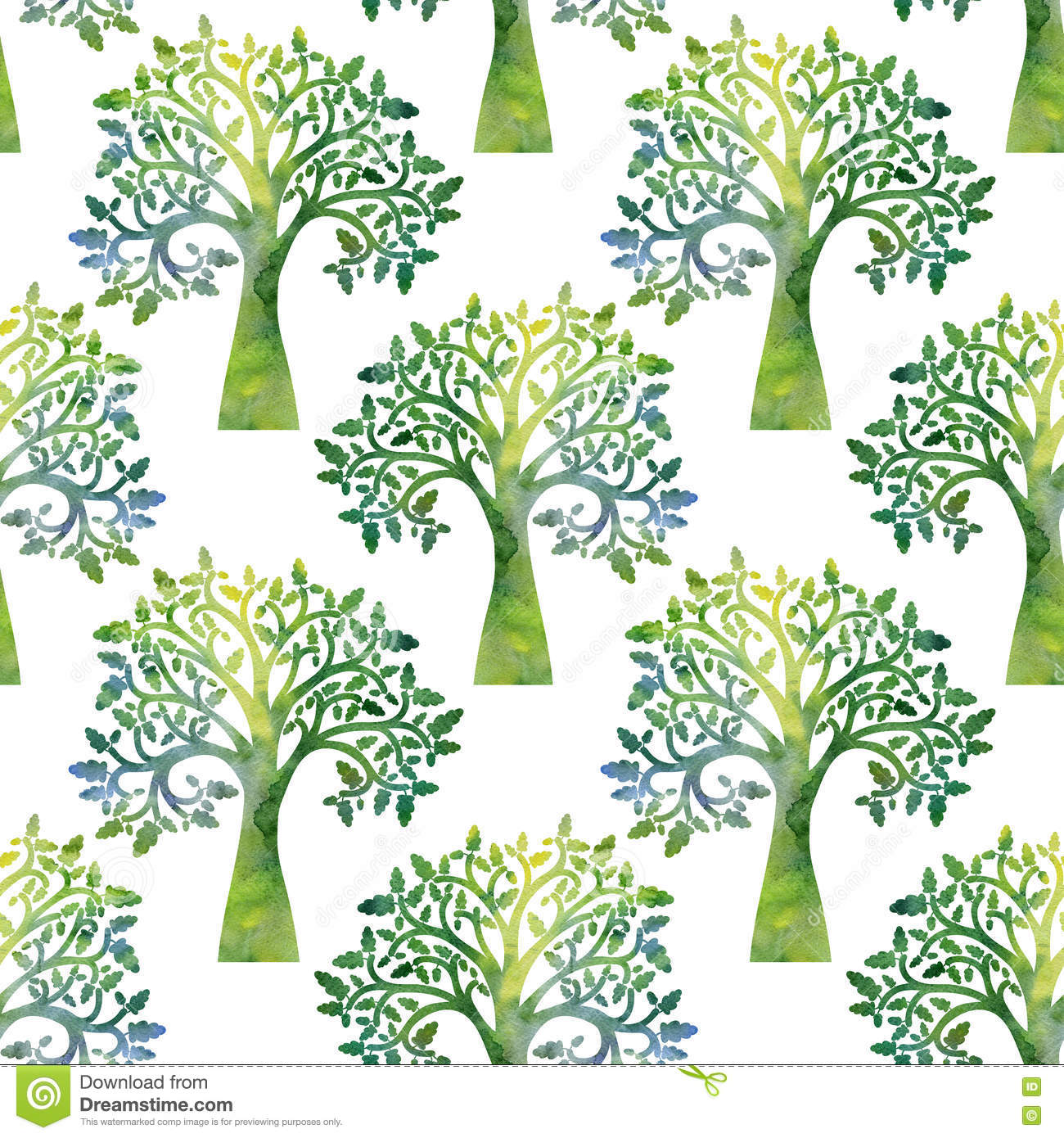 nature seamless pattern with oak tree branches and leaves stock