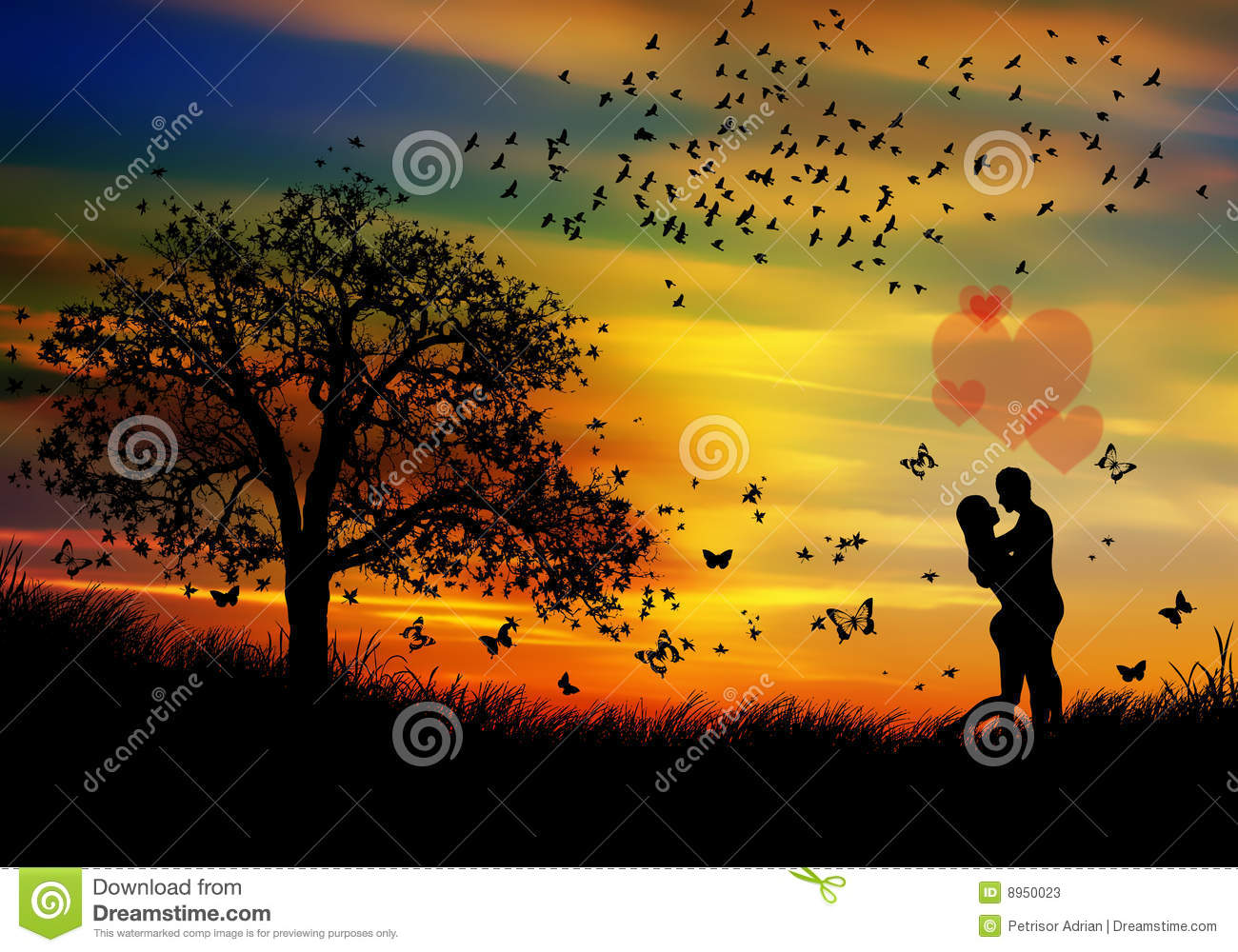 Nature Spring Beauty And Couple In Love Stock Illustration ...