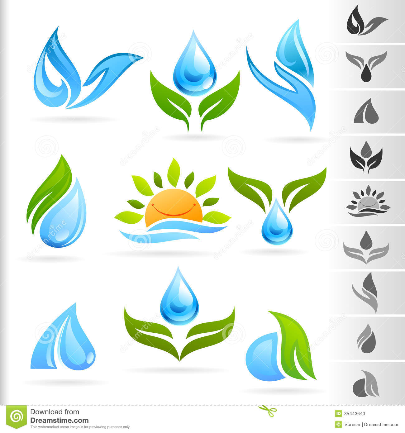 Nature Symbol And Icons Series - 1 Water Stock Photo ...