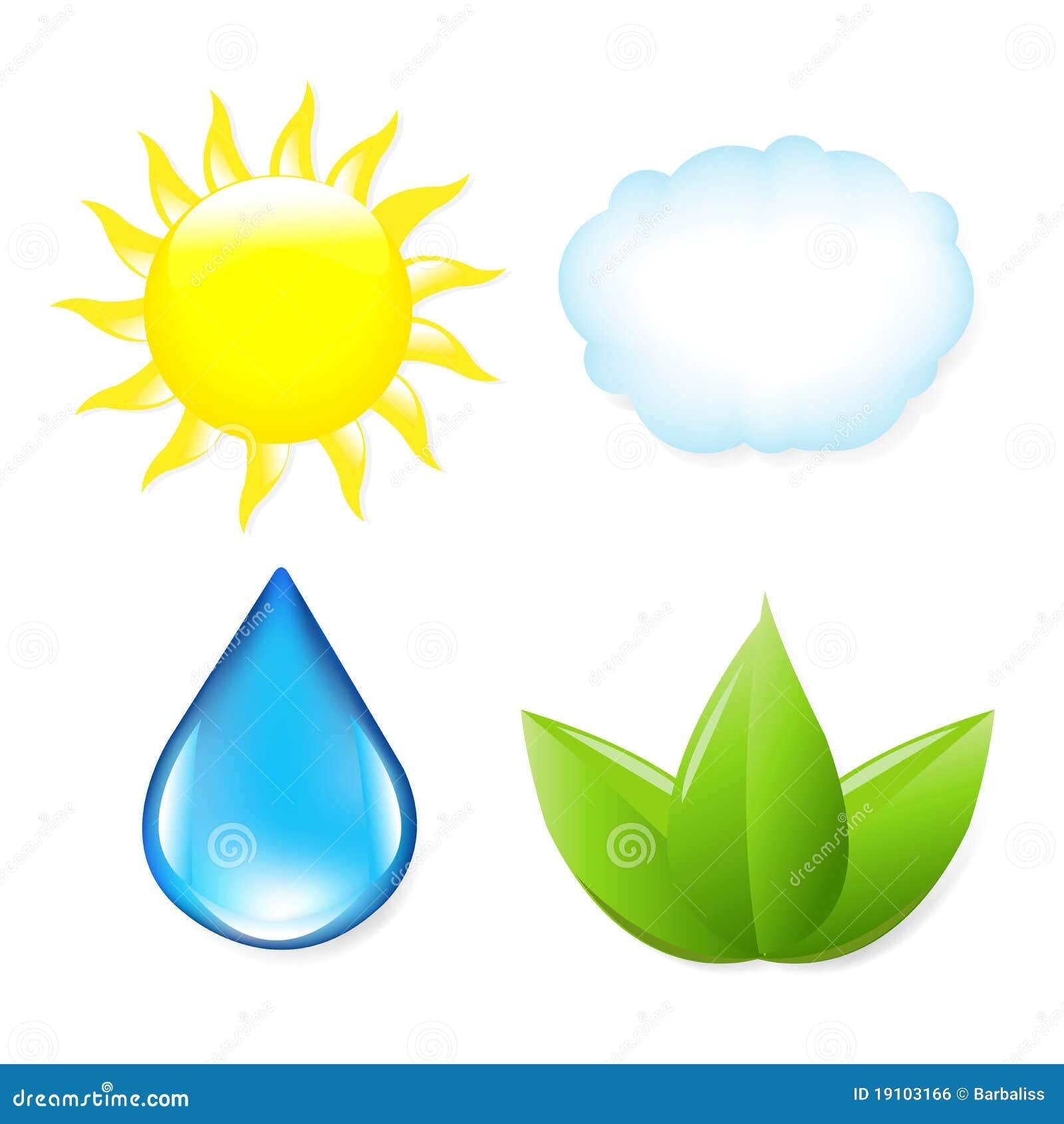 Nature Symbols Nature symbols, sun, cloud,