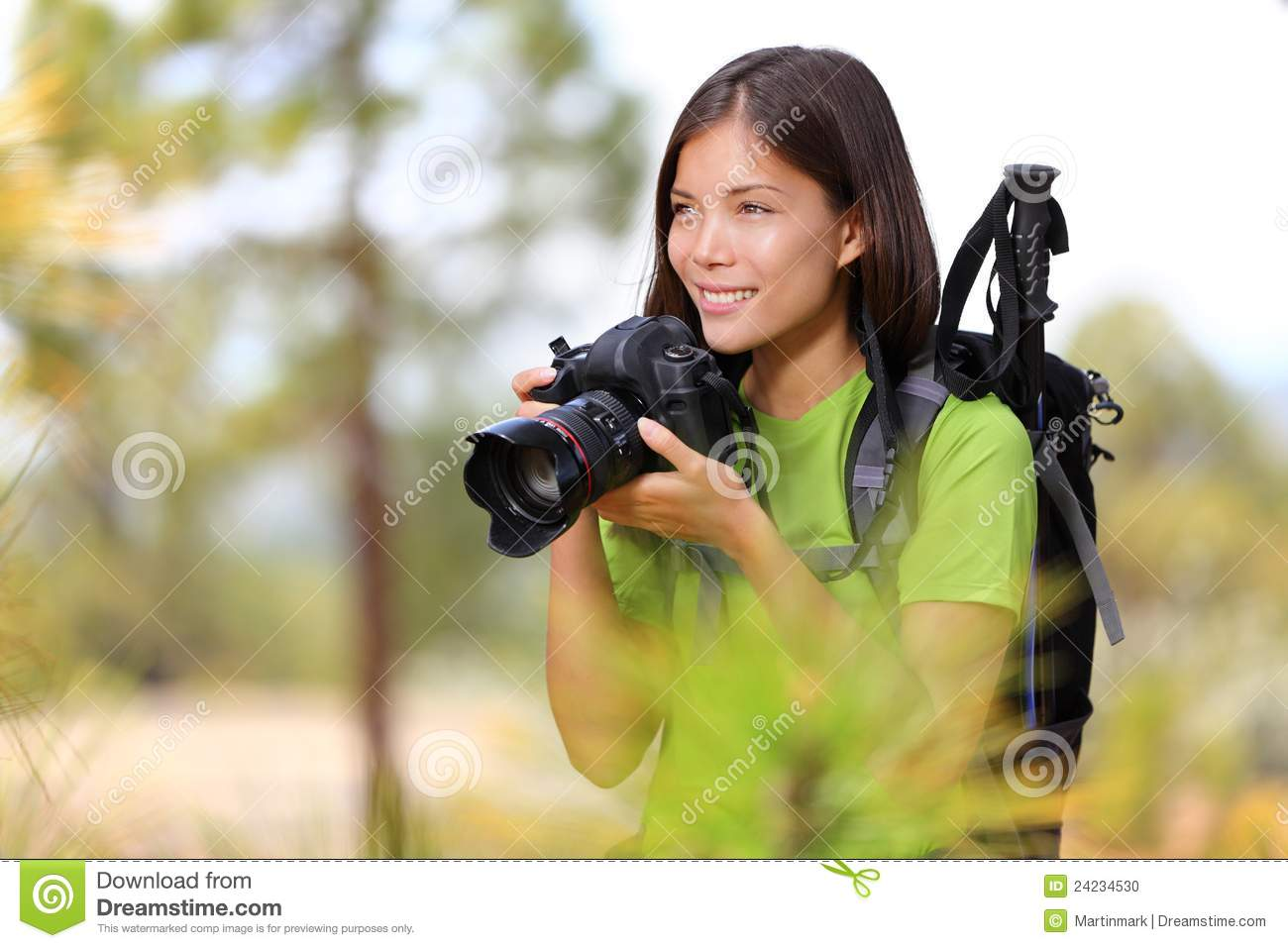 Nature travel photographer woman