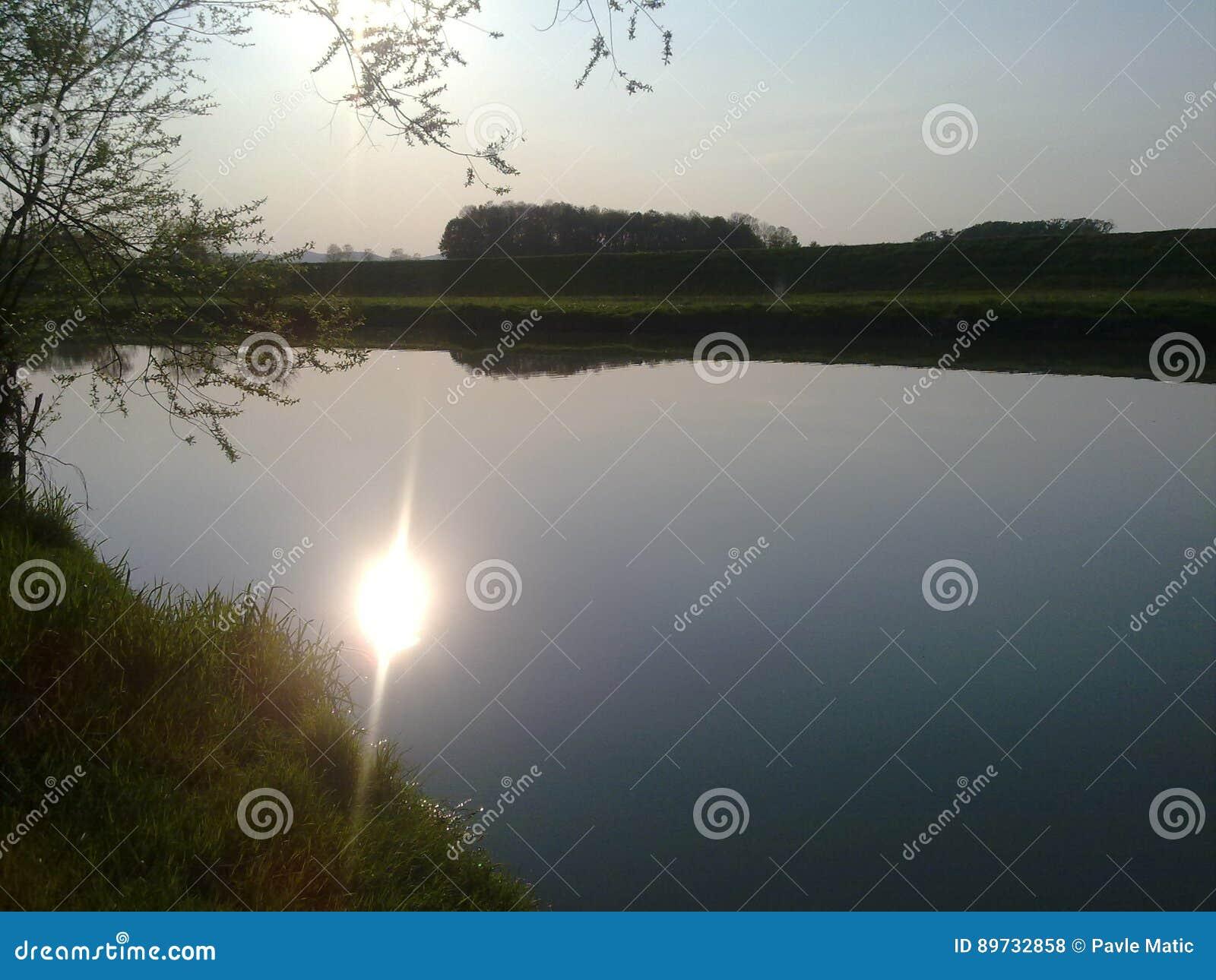 Nature. water, river, coast, sunset, kolubara