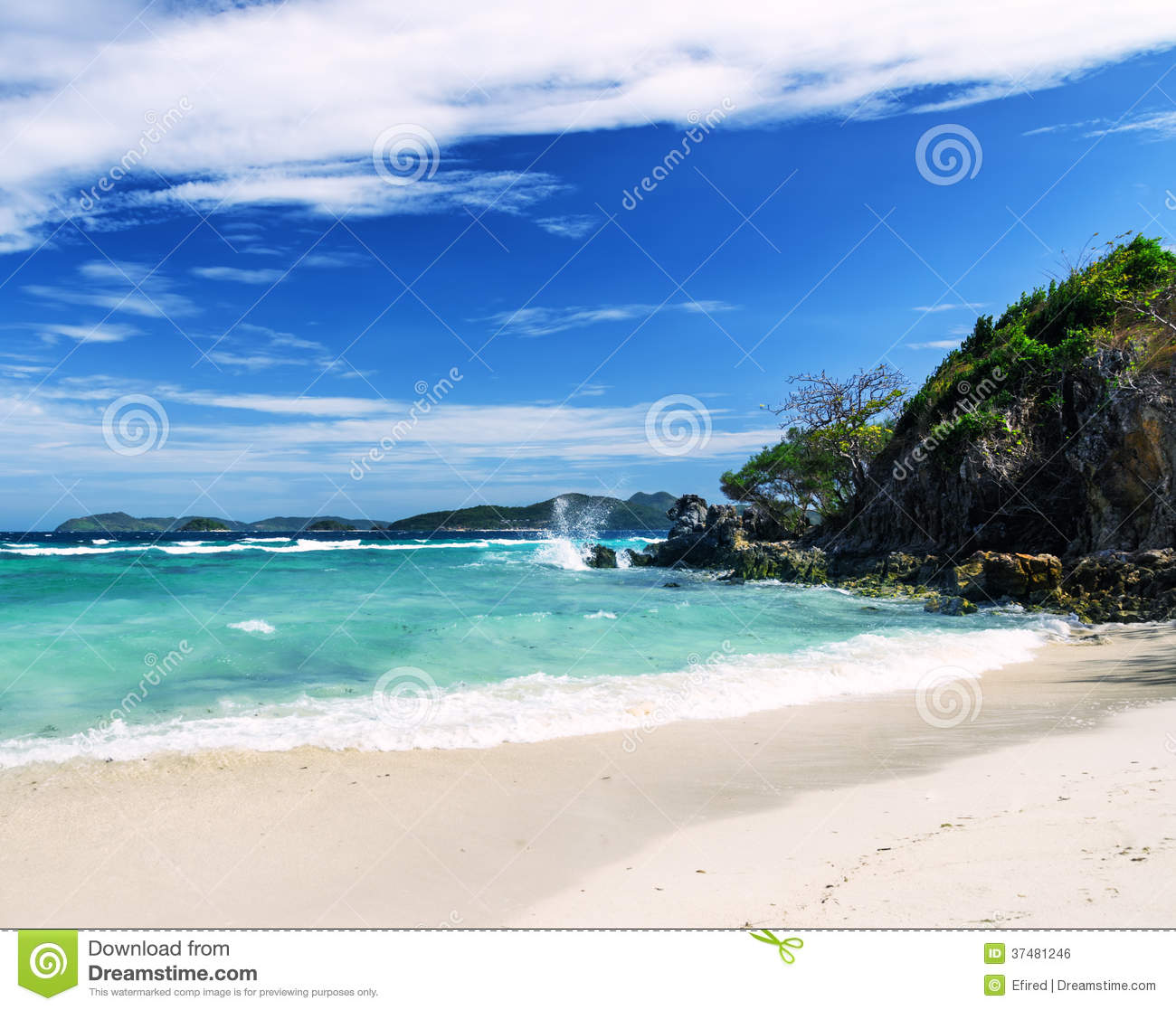 White Sand Beach: White Sand Beach And Blue Sky. Royalty Free Stock Image