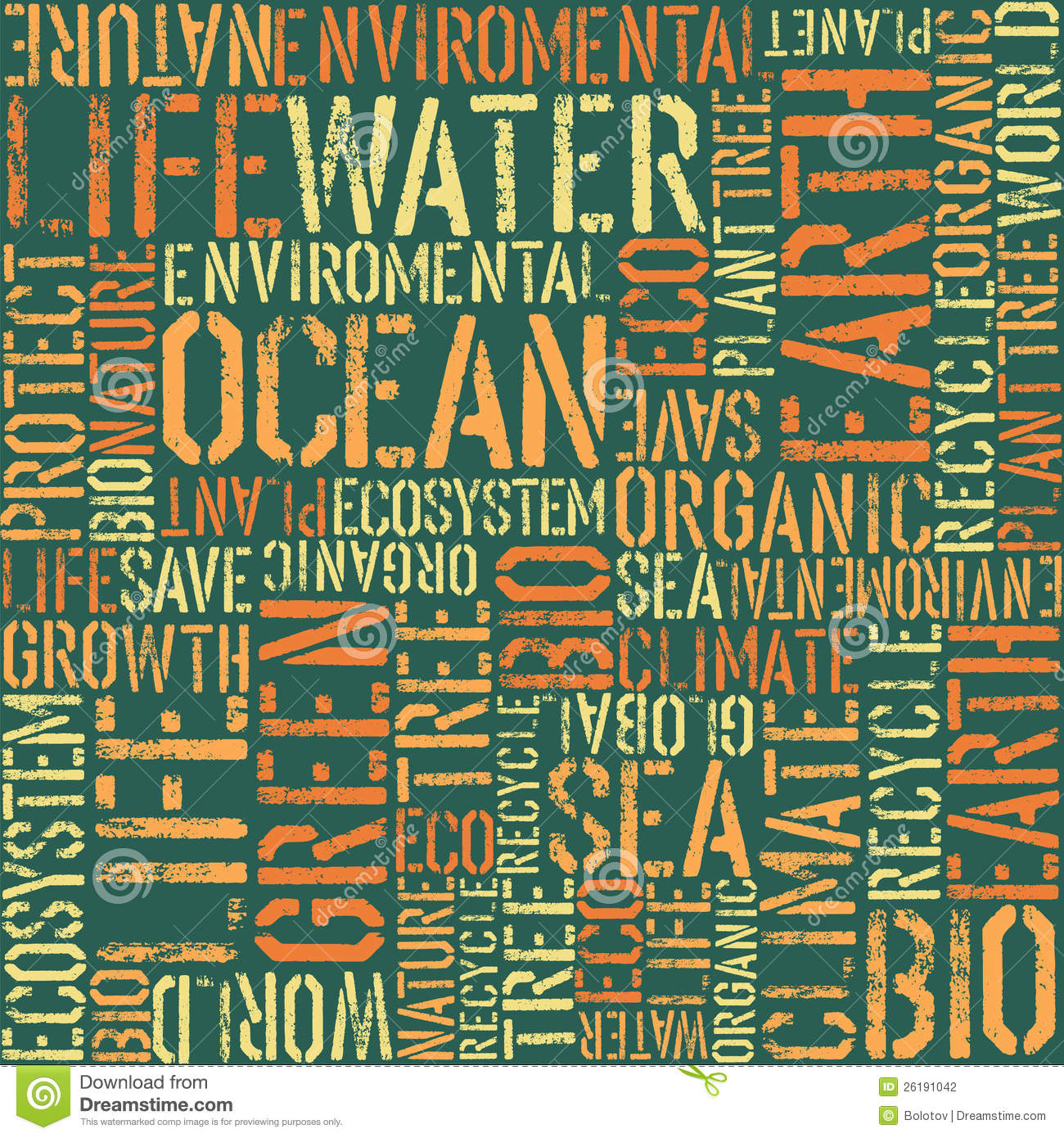 Nature Words Seamless Pattern. Stock Photography - Image: 26191042