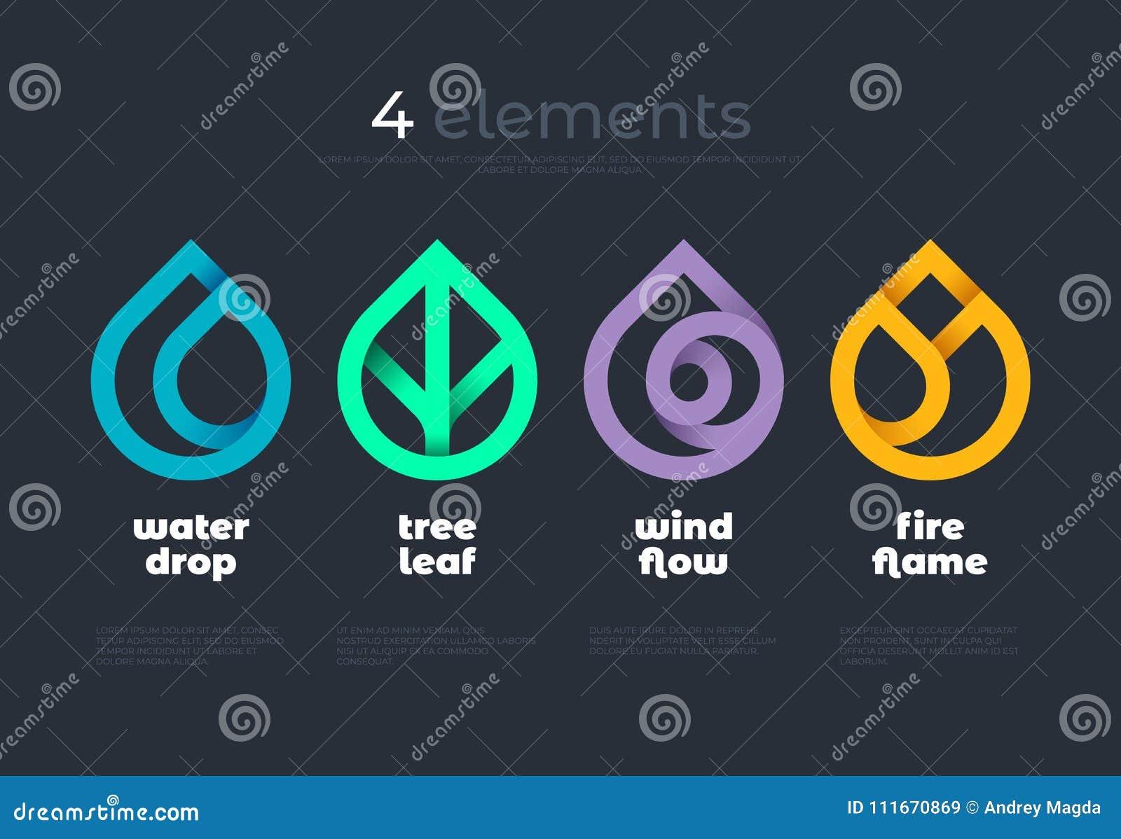 Naturelemente Wasser, Feuer, Erde, Luft Steigungslogo auf dunklem Hintergrund Alternative Energiequellenlinie Logo Eco Zeichen