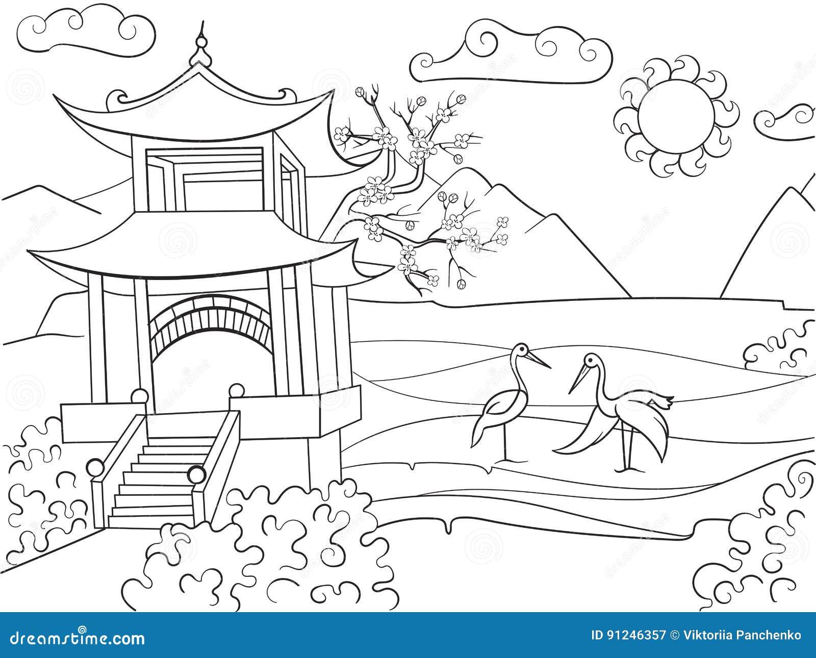 Natureza Do Livro Para Colorir De Japão Para A Ilustração Do
