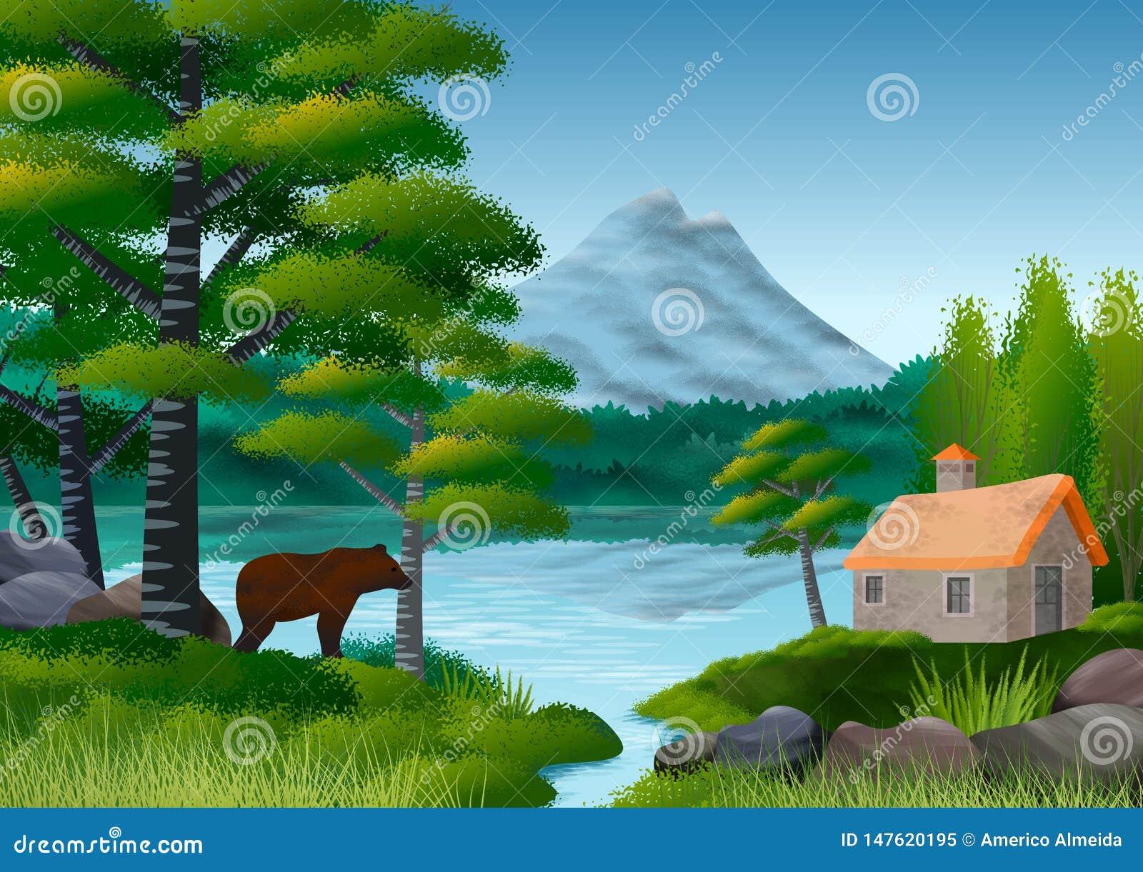 Naturlandschaft mit Bergen, See und belaubtem Baum im Vordergrund E