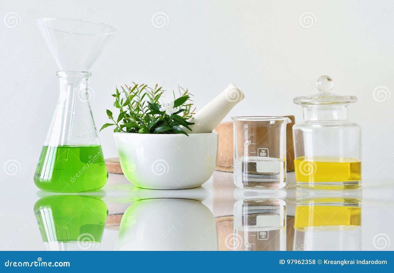 Naturlig organisk botanik och vetenskaplig glasföremål, alternativ örtmedicin, naturliga skönhetsprodukter för skönhetsmedel för