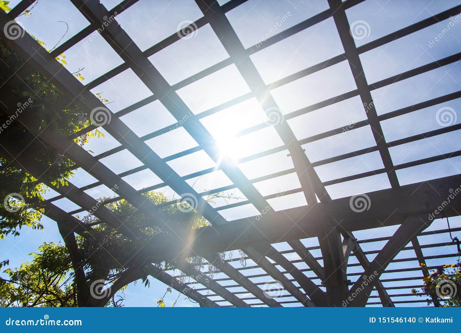 Naturlig solljusvisning till och med träaxelmarkisen