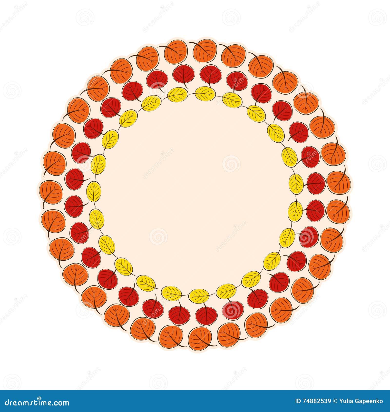 Naturlig Sunny Autumn Leaves Frame Background Vector illustration