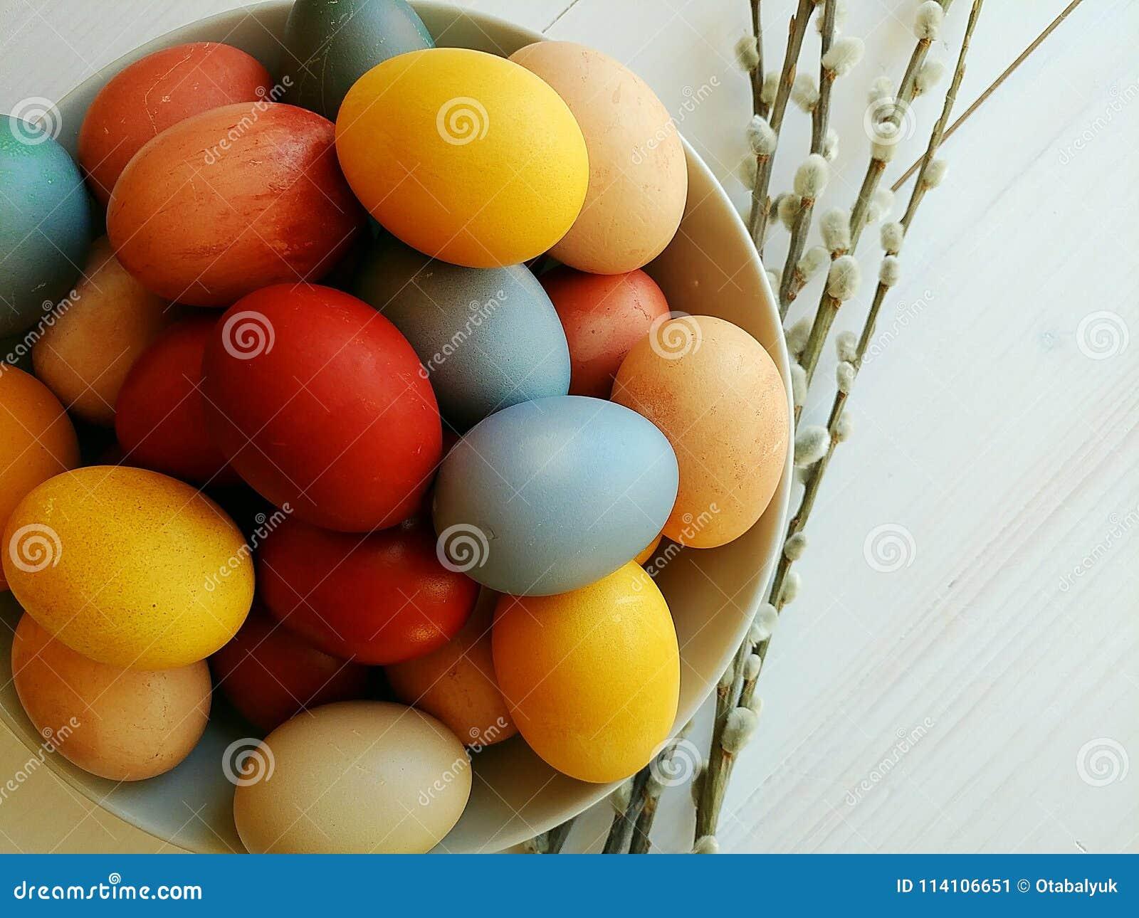 Naturliga färgade ägg i platta på vit träbakgrund målat gräs för 2 placerade allt för easter för hinkfågelungebegreppet blommor ä