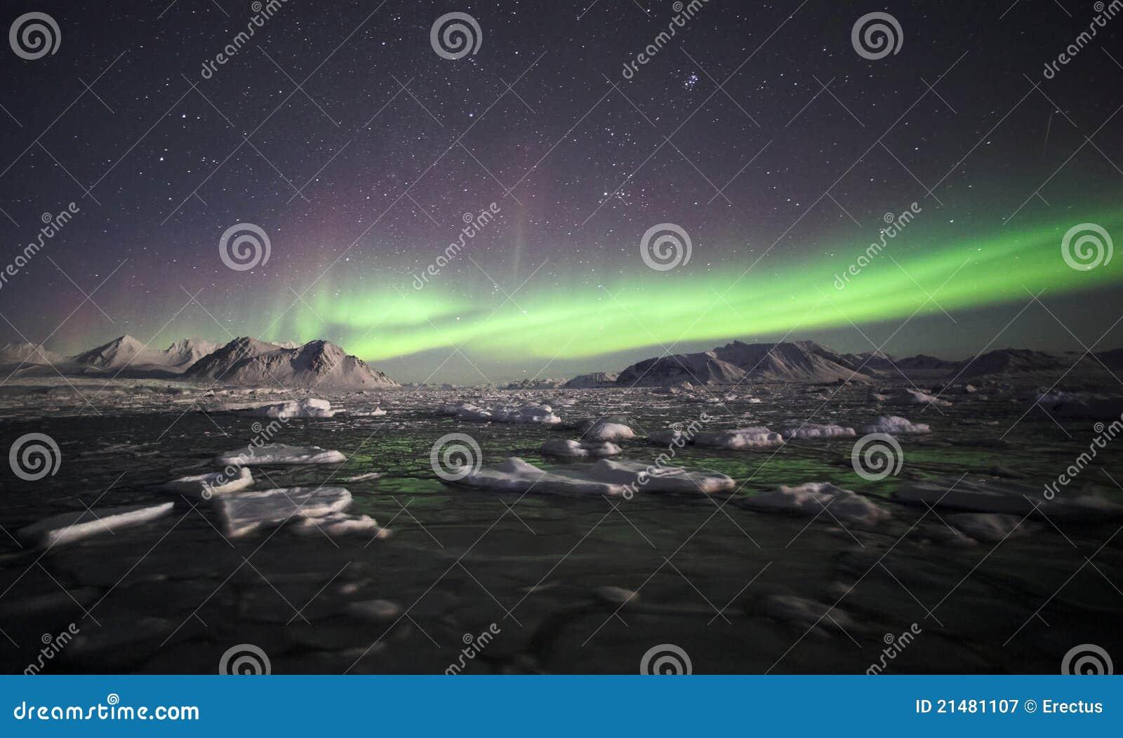 Naturligt fenomen av nordliga lampor