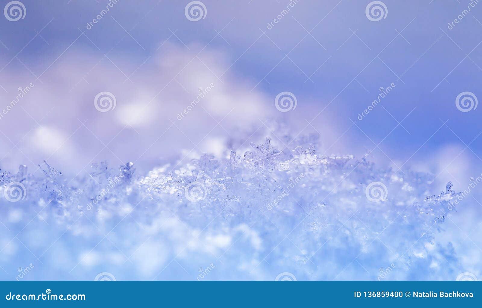 Naturligt skimrar många kristaller av snöflingor av olik former och textur på solen på en klar vinterdag mot en blå himmel
