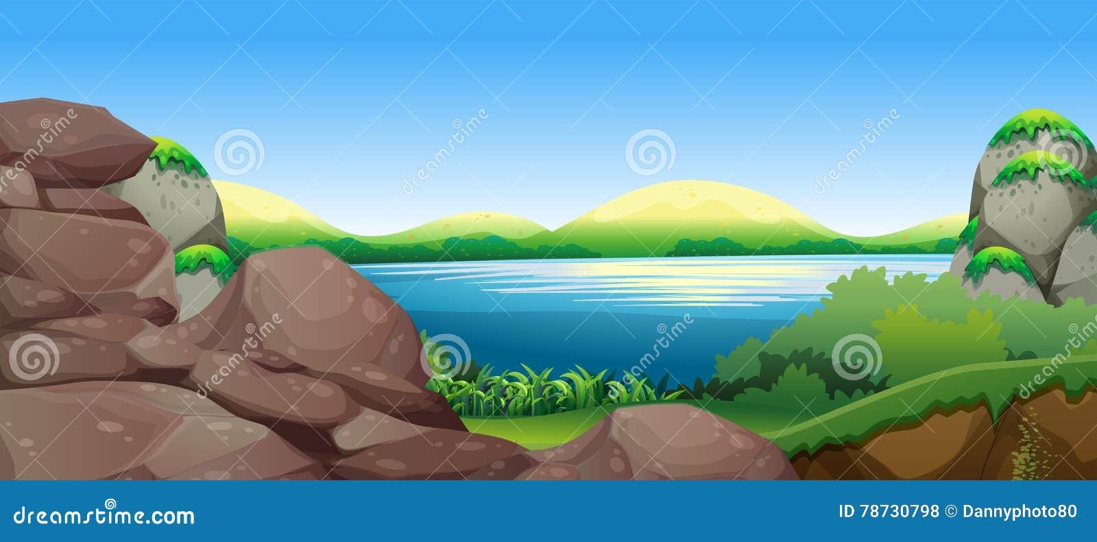 Naturplats med sjön och kullar