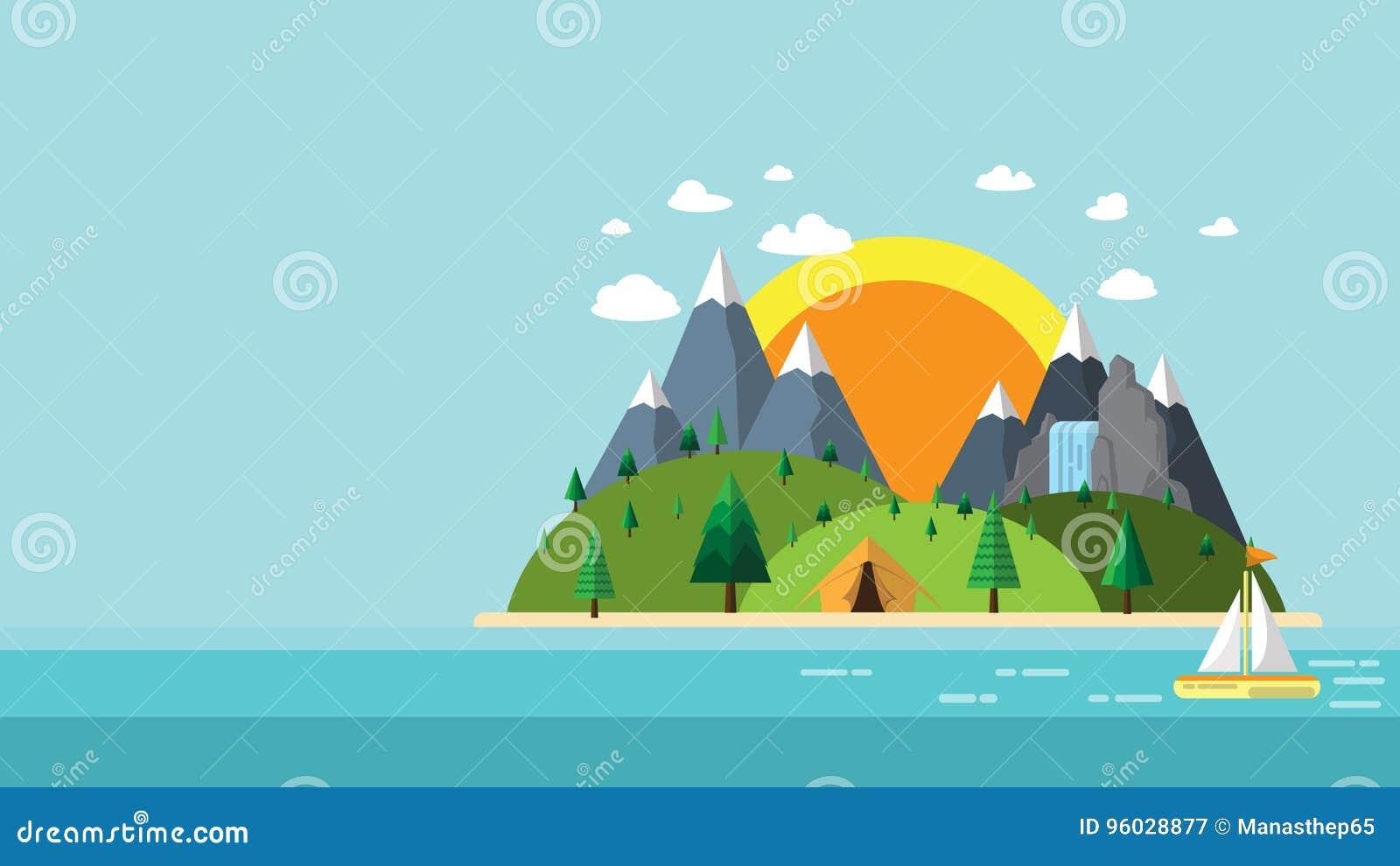 Natury podróży płaski projekt