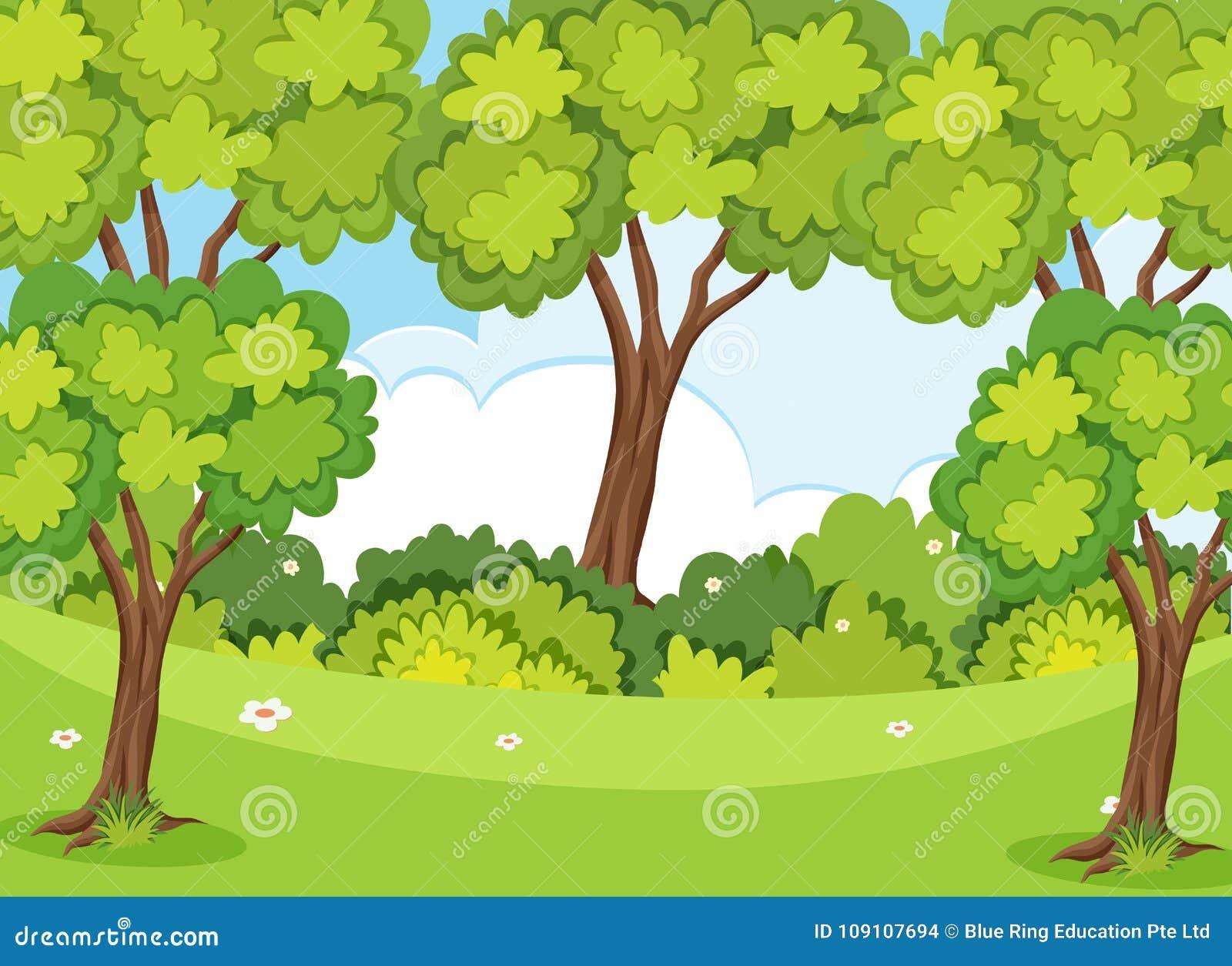 Natury scena z drzewami i gazonem