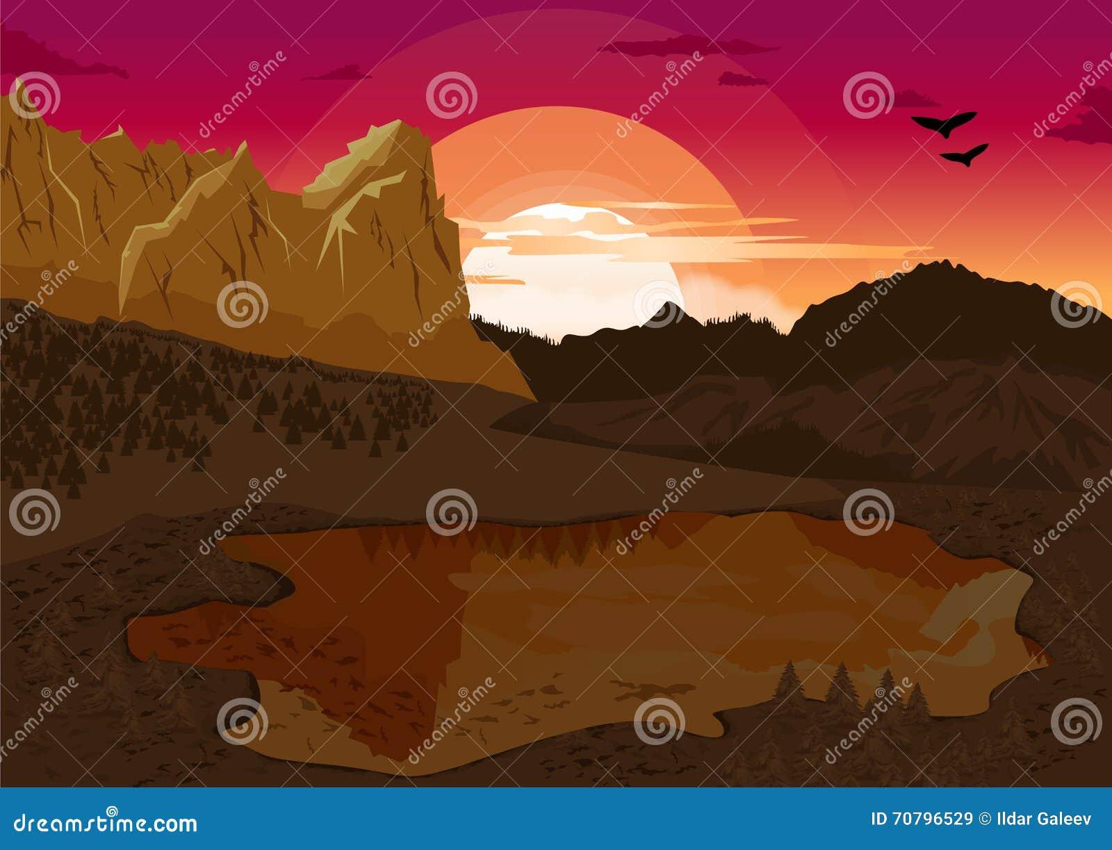 Natuurlijk de zomerlandschap met bergmeer en silhouet van de vogels bij dageraad