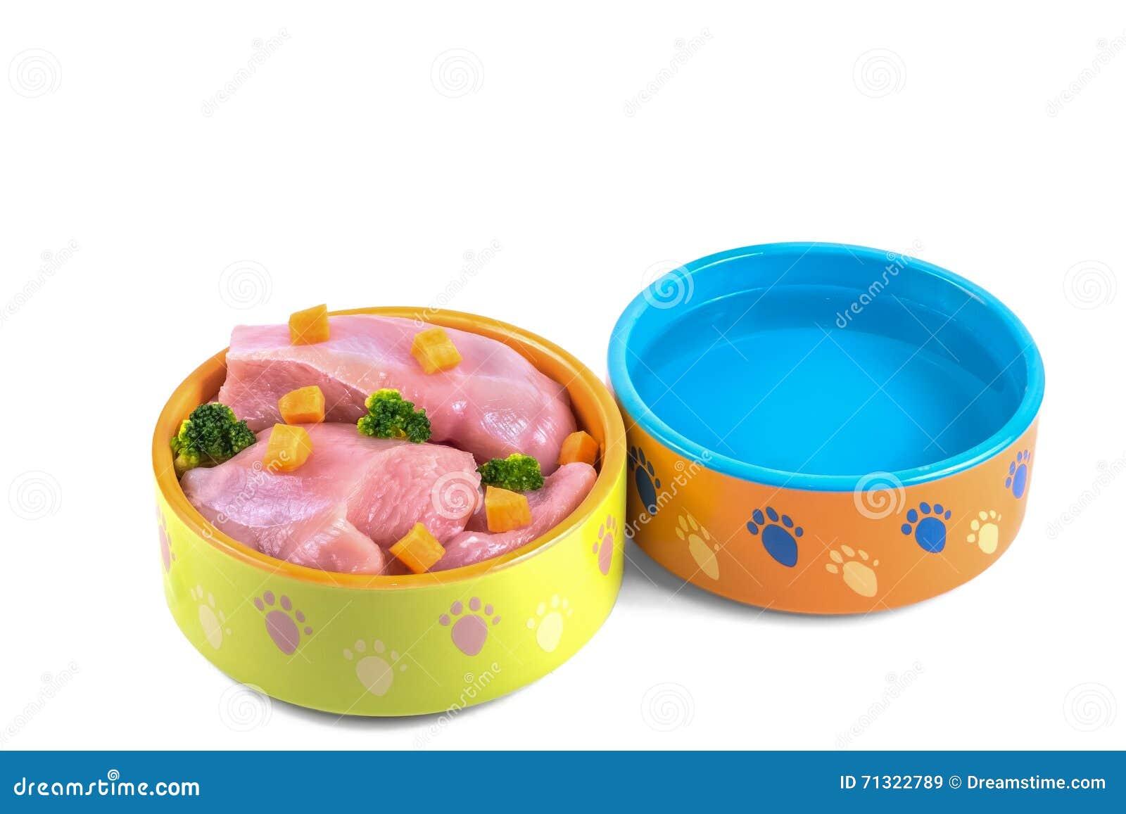Natuurlijk hondevoer en water in ceramische die kommen op wit worden geïsoleerd